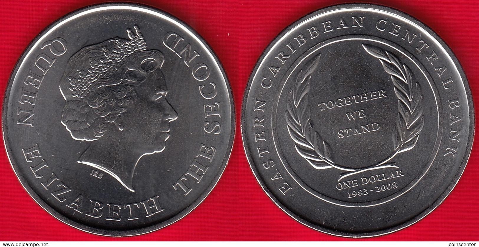 "Eastern Caribbean States 1 Dollar 2008 Km#58 ""Central Bank"" UNC - Caribe Oriental (Estados Del)"