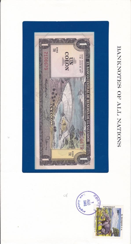 BANKNOTES OF ALL NATIONS   UN COLON - El Salvador