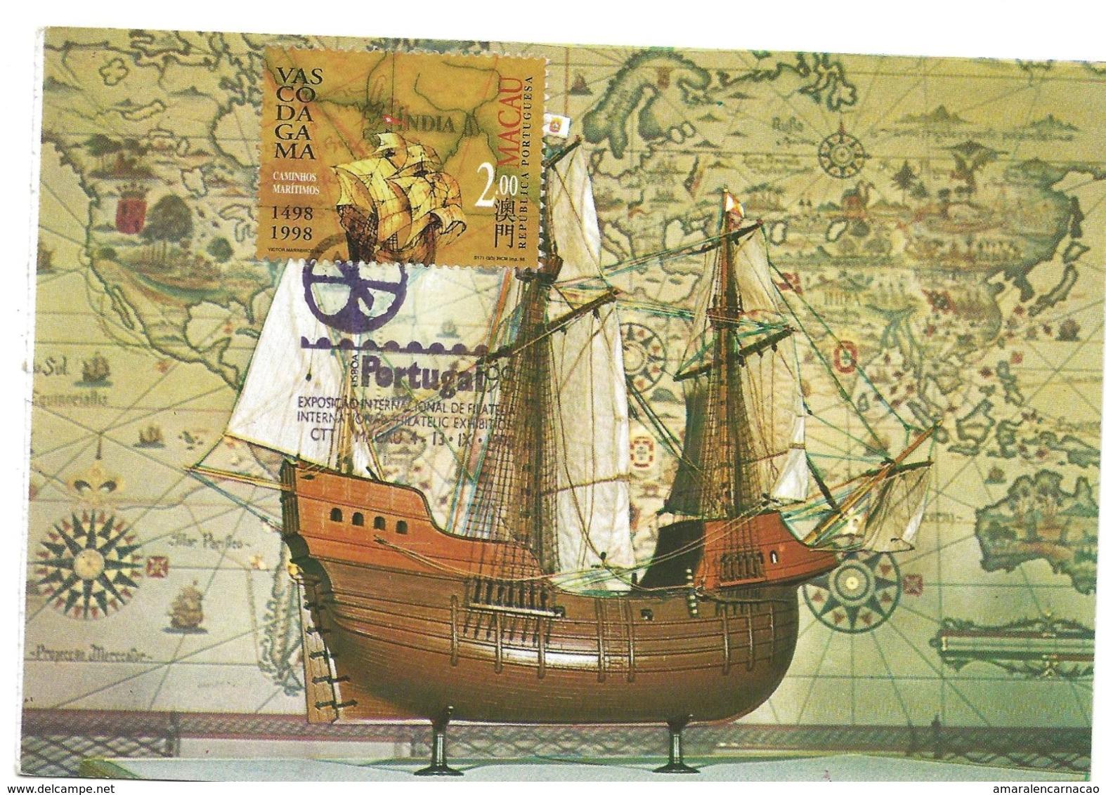 CARTE MAXIMUM- MAXIMUM KARTE - MAXIMUM CARD- MACAU/MACAO - VASCO DA GAMA ET LA VOYAGE POUR MER À INDE -1498-1998 -BATEAU - Geschiedenis