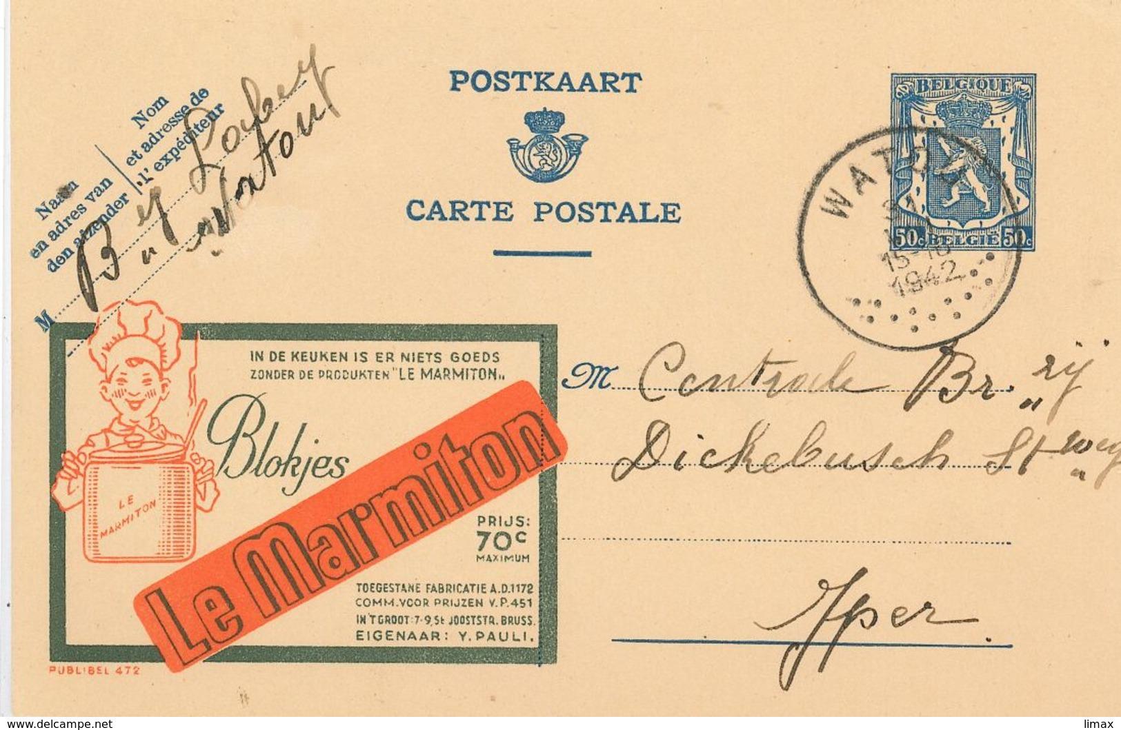 Publibel 472 Marmiton Küche Koch Kochen Kochlöffel - Watou 1942 - Stamped Stationery