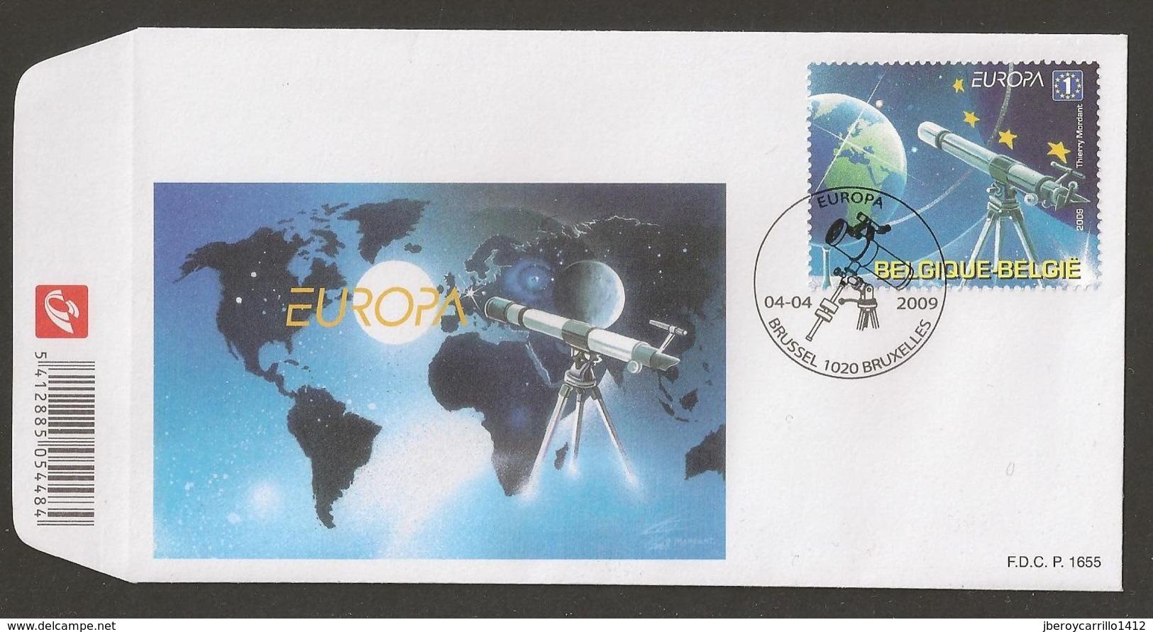 "BELGICA / /BELGIUM /BELGIQUE / BELGIEN - EUROPA 2009  - TEMA  ""ASTRONOMIA"" -FDC Del SELLO  Procedente Del Hojita Bloque - 2009"