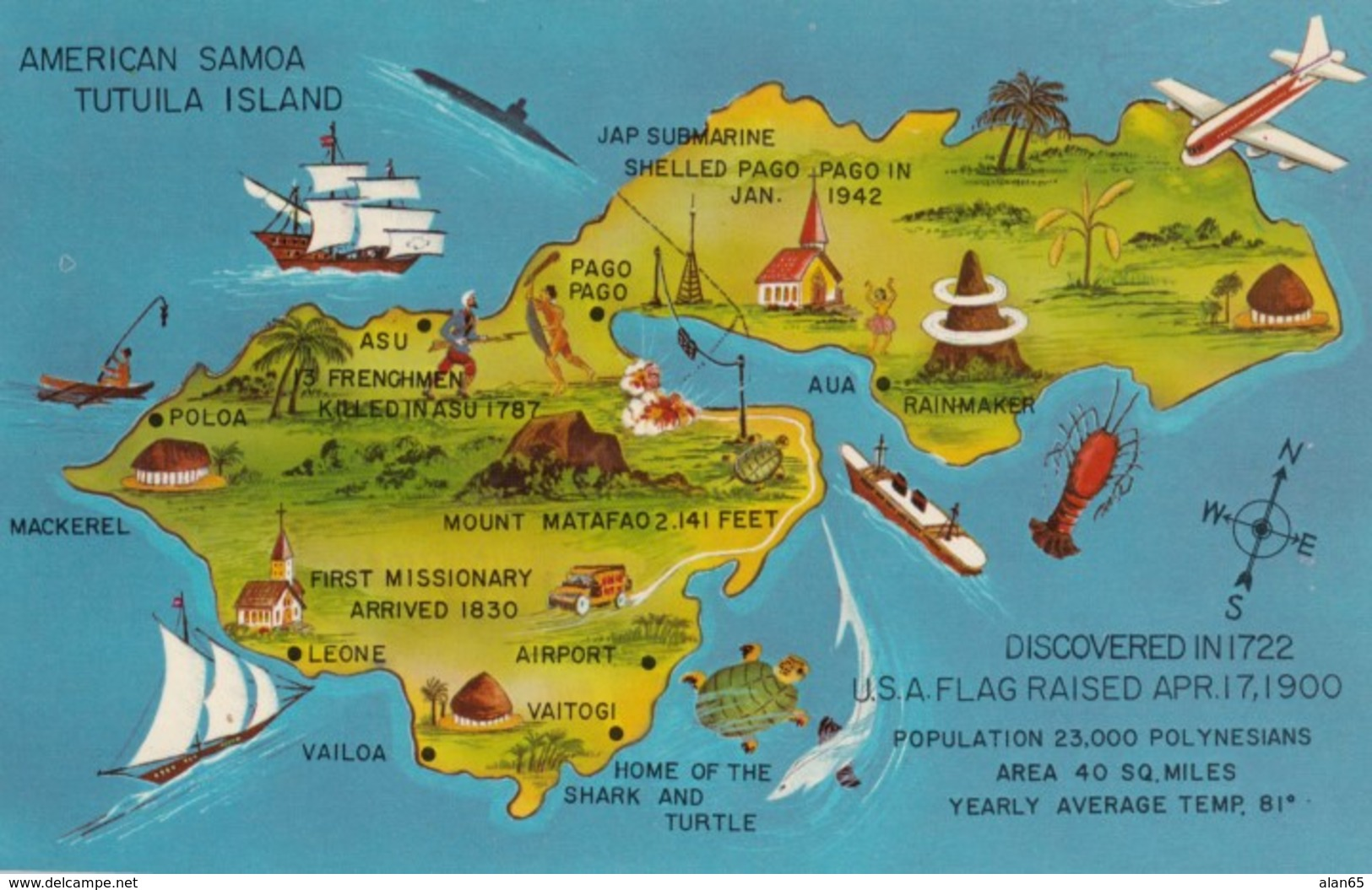 American Samoa Tutuila Island Map With Towns & Picture Icons, C1960s Vintage Postcard - Samoa Americana