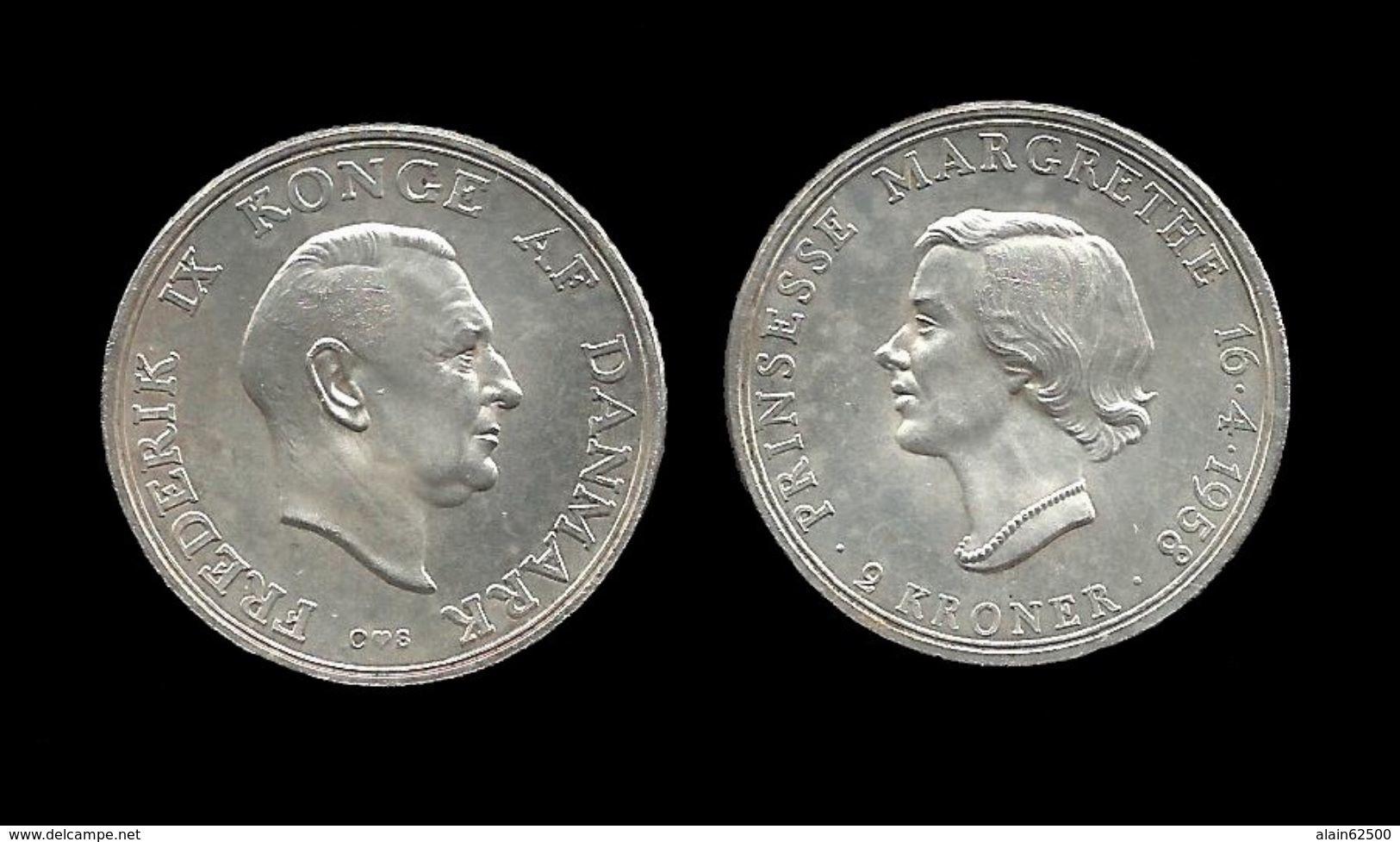 DANEMARK . 2 KRONER . FREDERIK IX ET MARGRETHE . 1958 . - Dänemark