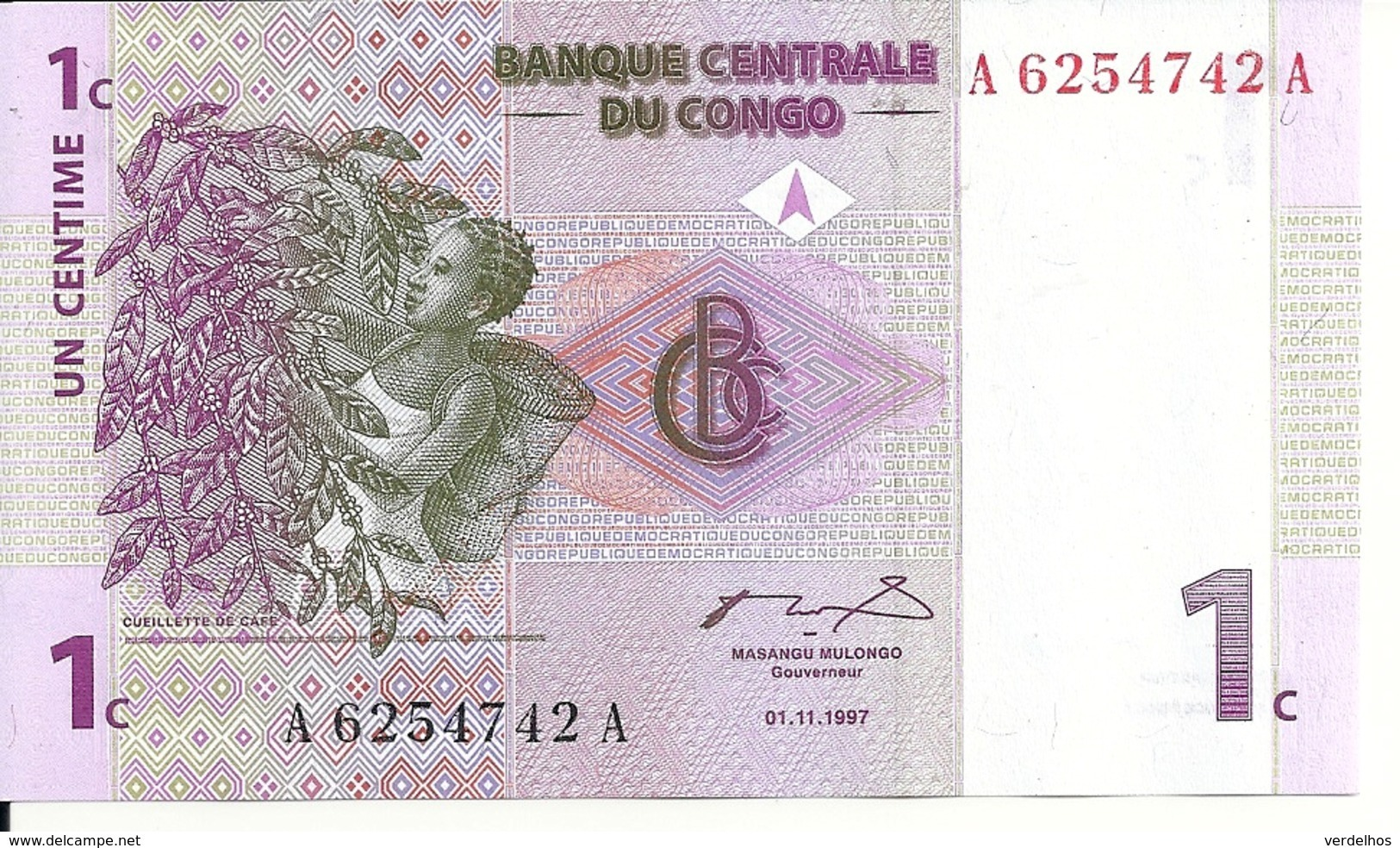 CONGO 1 CENTIME 1997 UNC P 80 - Zonder Classificatie