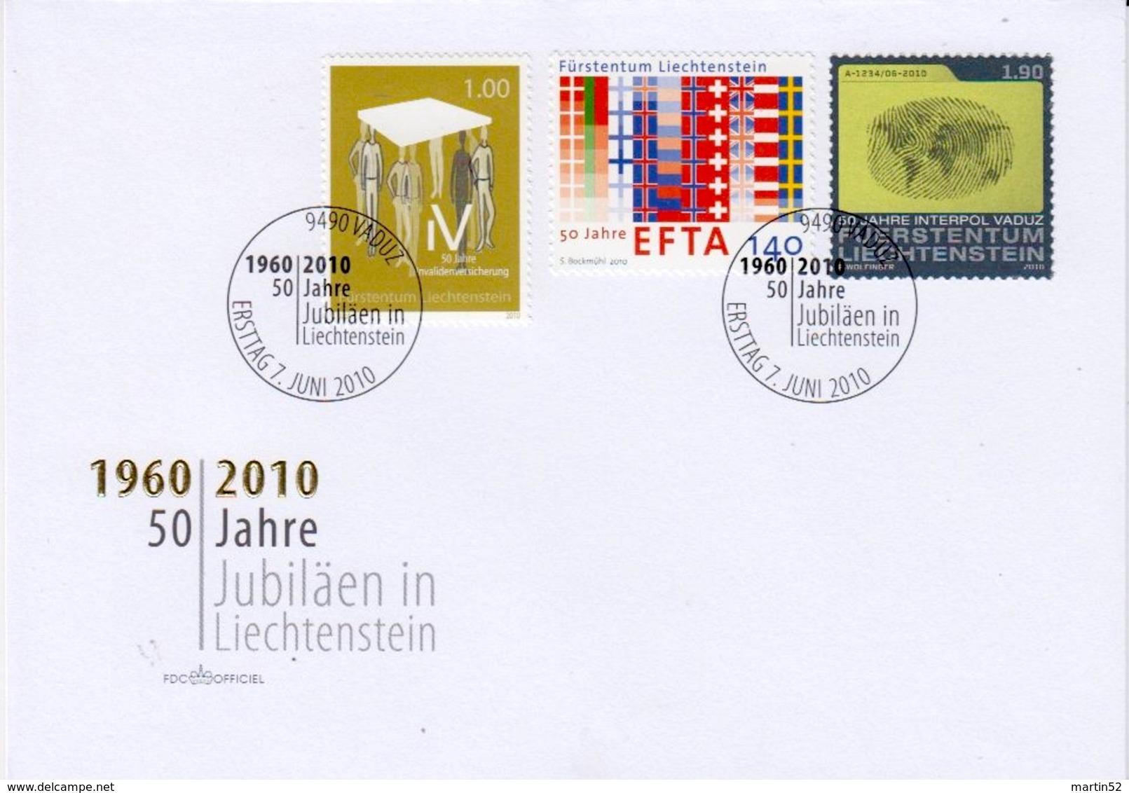 Liechtenstein 2010: 50 Jahre AHV & EFTA & INTERPOL Zu 1502-4 Mi 1558-60 Yv 1499-1501 FDC (Zu CHF 7.00) - Politie En Rijkswacht