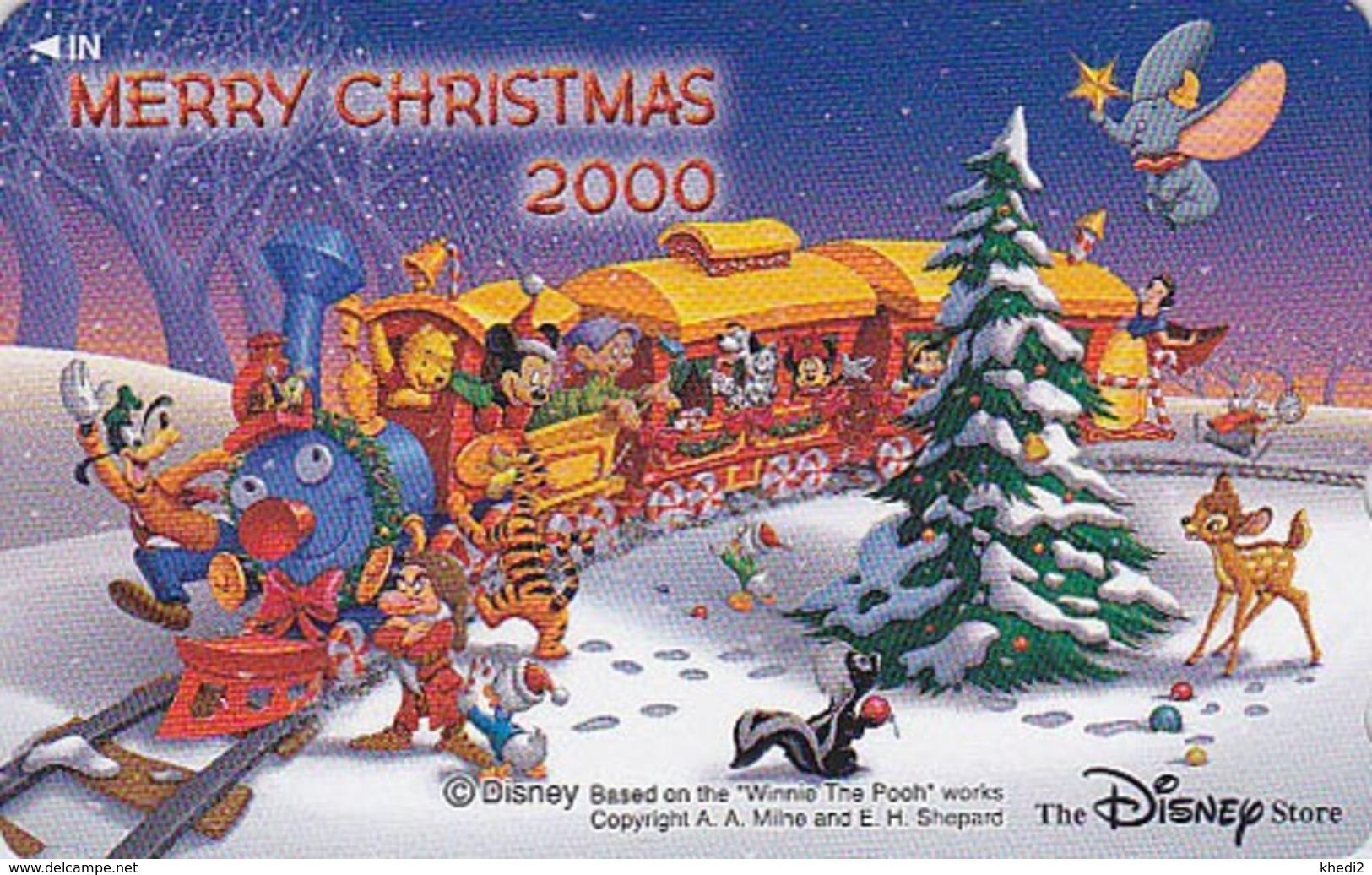 TC NEUVE Japon / 110-211966 - DISNEY STORE - NOEL 2000 Train Elephant Dumbo Pooh - CHRISTMAS - Japan MINT Phonecard - Disney