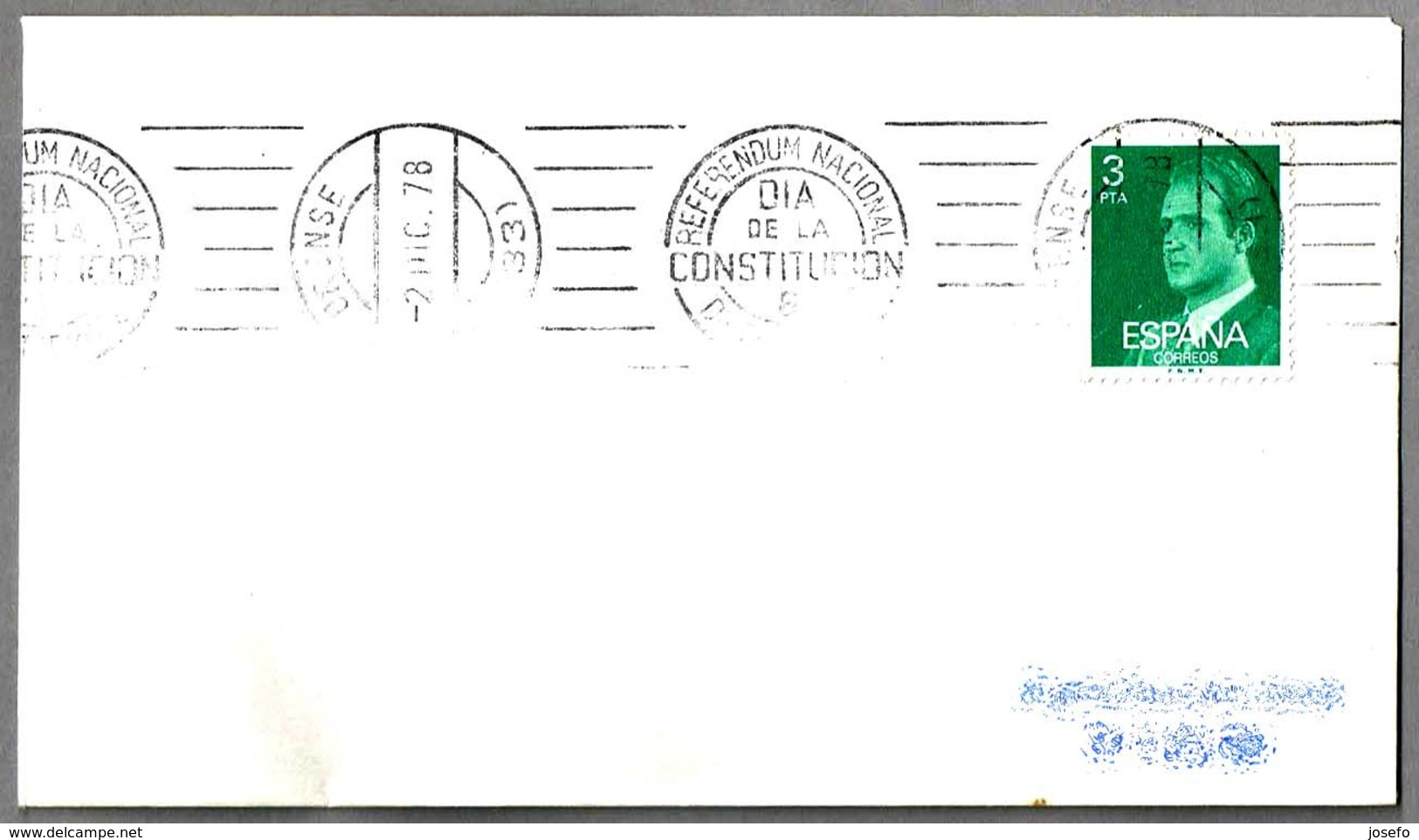 Rodillo REFERENDUM NACIONAL - DIA DE LA CONSTITUCION - 6 DE DICIEMBRE. Orense, Galicia, 1978 - 1931-Hoy: 2ª República - ... Juan Carlos I