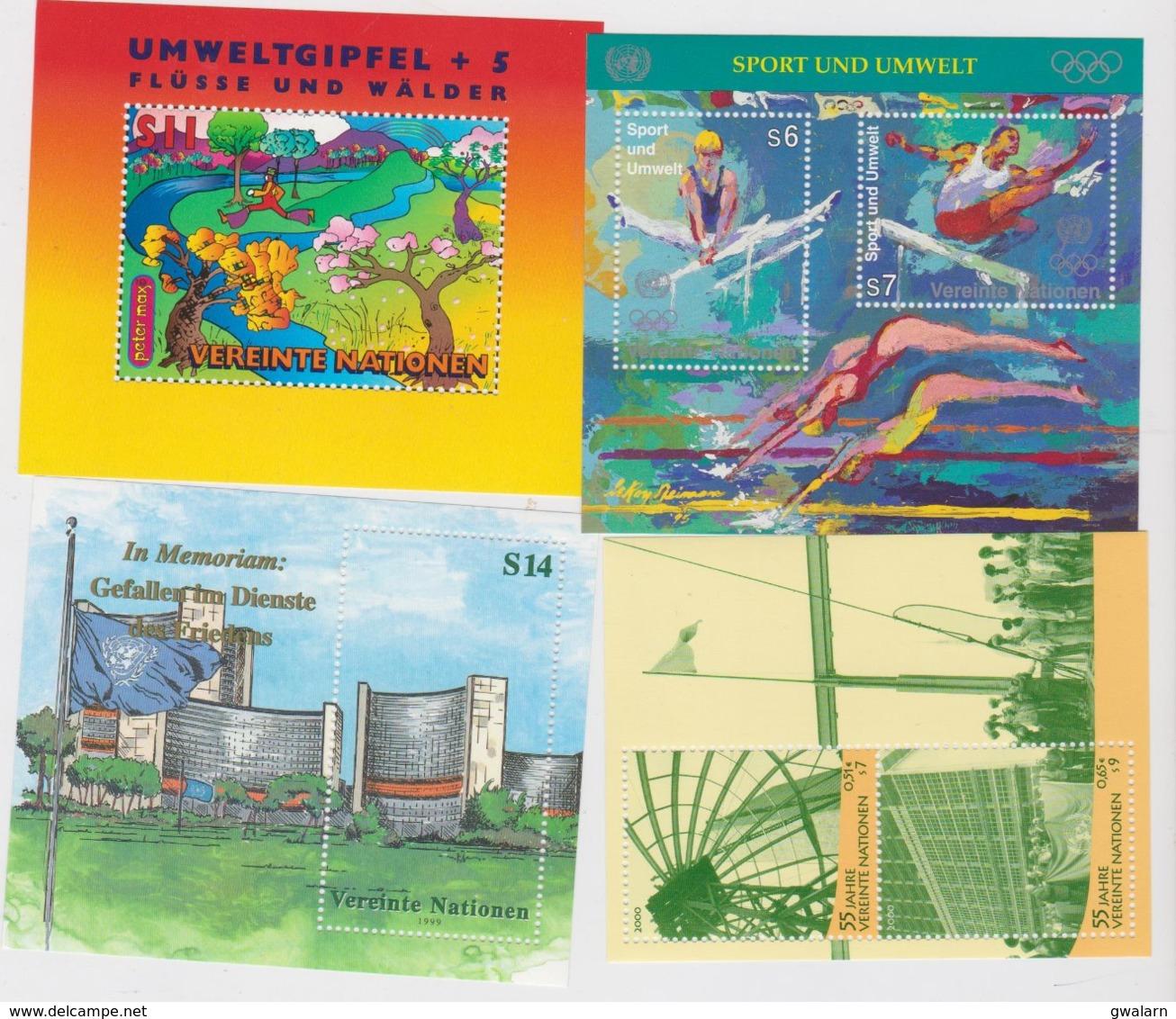 NATIONS UNIES VIENNE (AUTRICHE) 4 Blocs Feuillets Neuf Xx N° YT BF7-8 -11-12 - Années1996 à 2000 - Hojas Y Bloques
