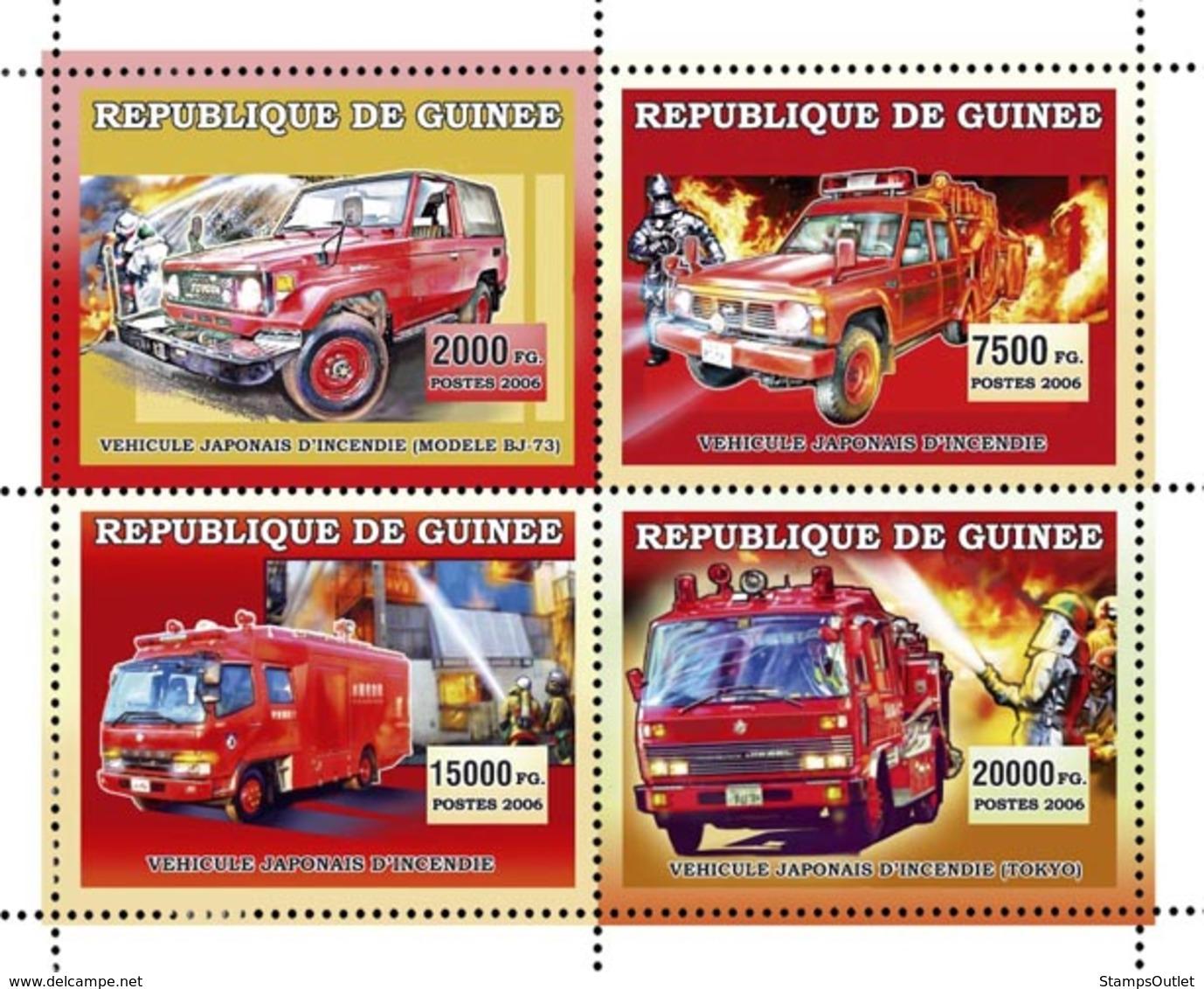 Guinea 2006 MNH - Vehicules Pompiers Japonais - YT 2787-2790, Mi 4437-4440 - Guinea (1958-...)