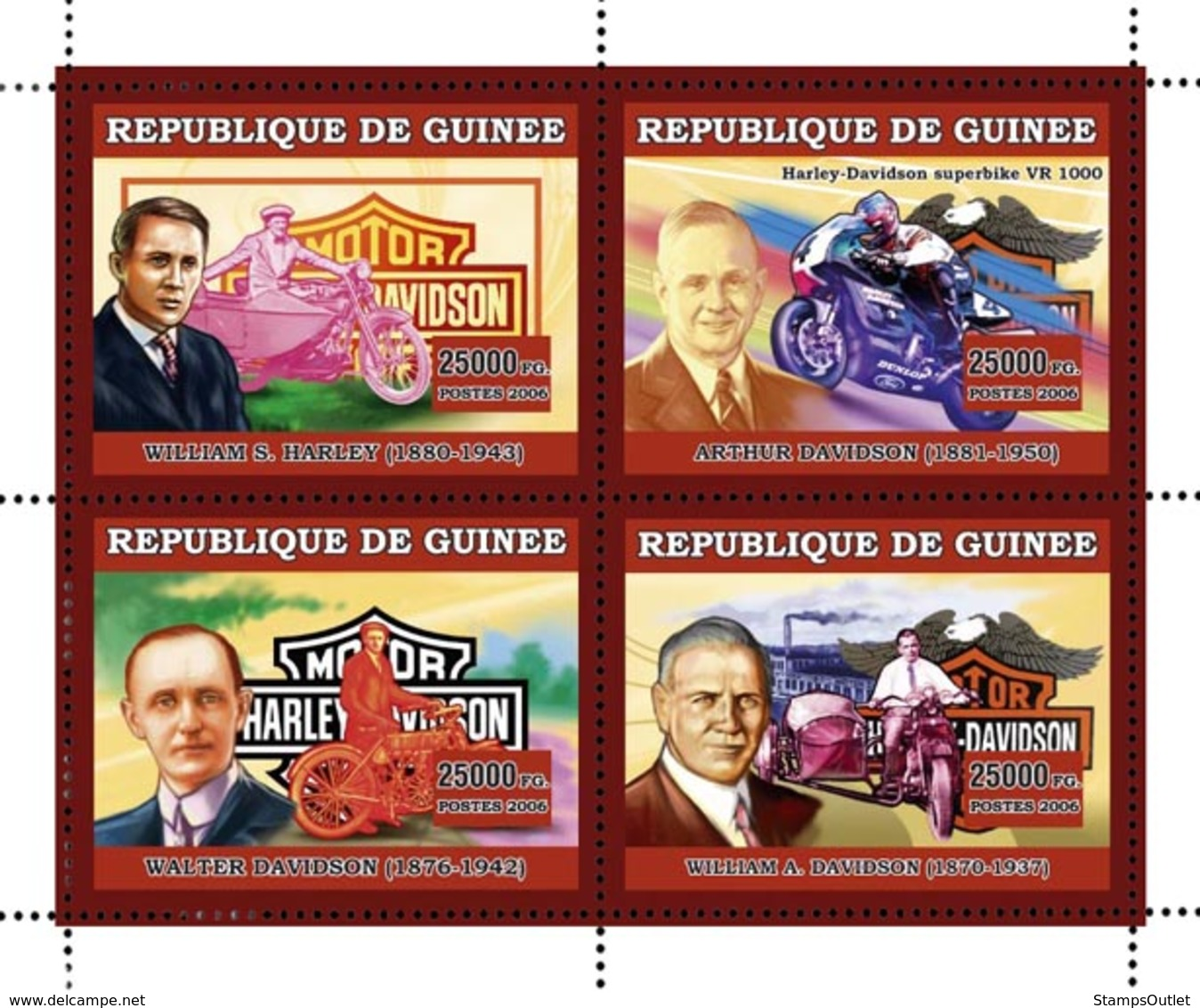 Guinea 2006 MNH - Motos - Harley Davidson- YT 2811-2814, Mi 4469-4472 - Guinea (1958-...)
