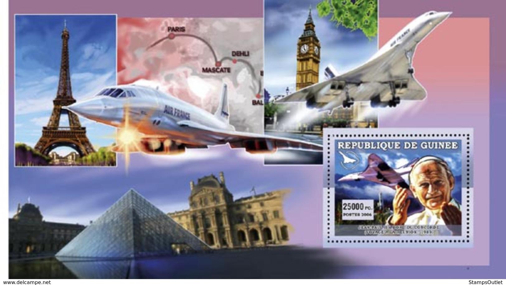 Guinea 2006 MNH - Concorde - Pape J.Paul II Au Bord Du Concorde Voyage Au Reunion - YT 450, Mi 4520/BL1106 - Guinea (1958-...)