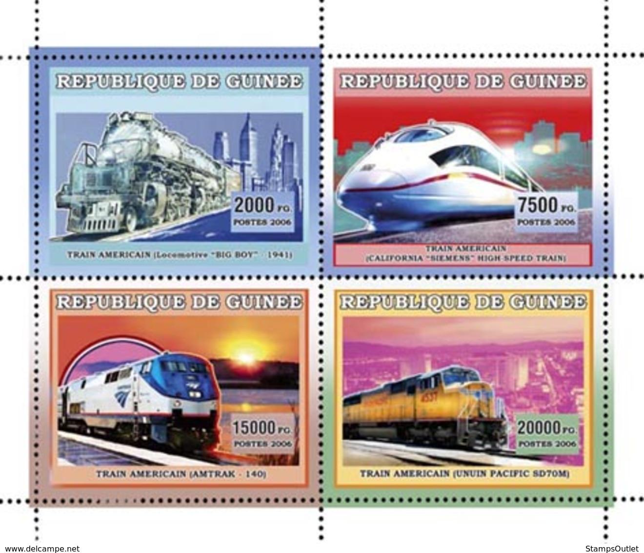 Guinea 2006 MNH - Trains Americains - YT 2847-2850, Mi 4381-4384 - Guinea (1958-...)