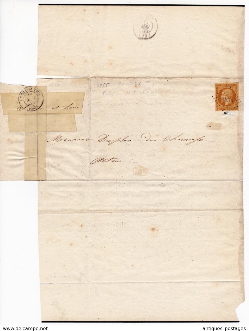 Lettre 1855 Magny-en-Vexin Seine Et Oise Cachet Petit Chiffre 1830 Napoléon III 10 Centimes Autun - 1853-1860 Napoleon III