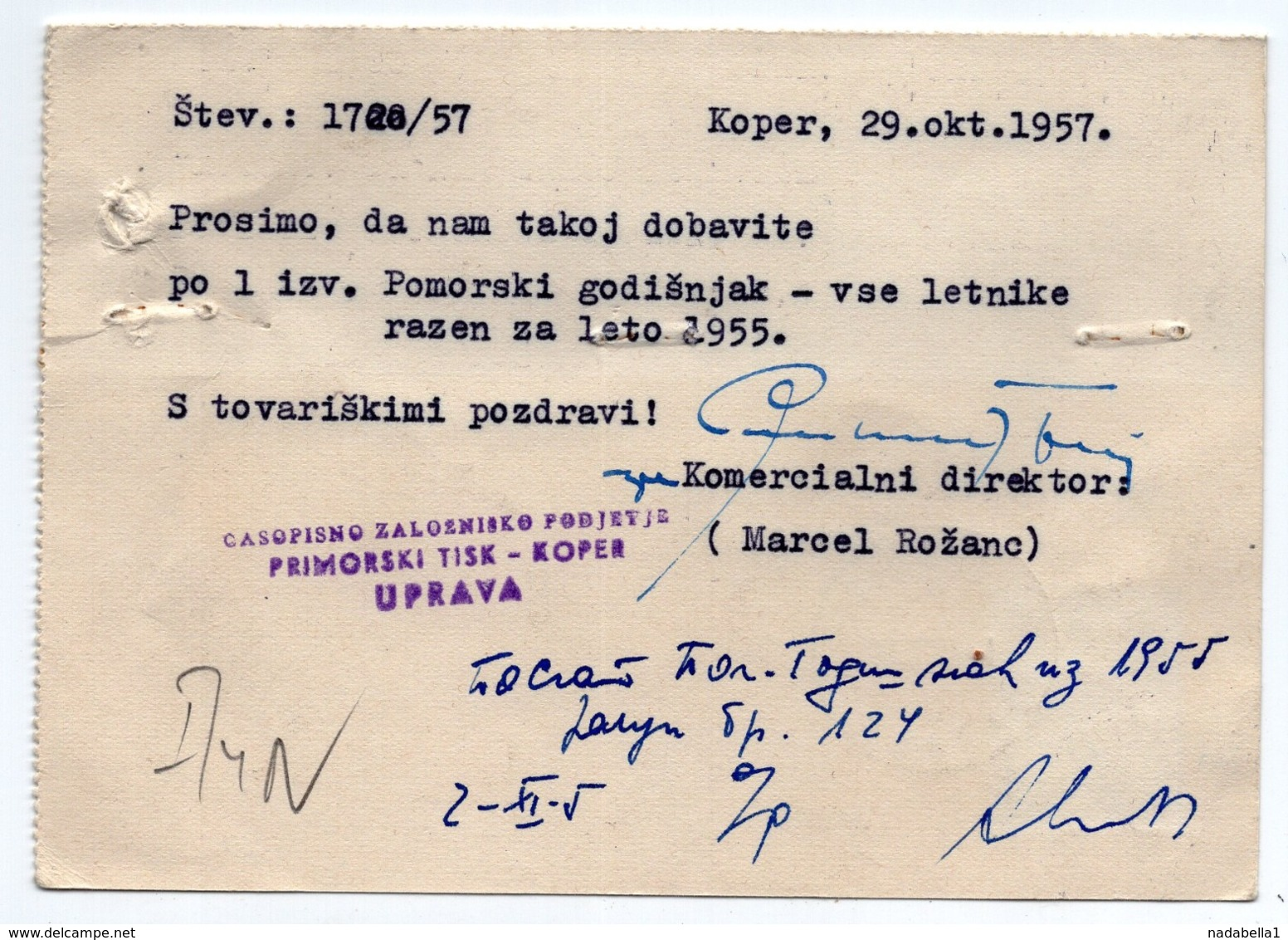1957 YUGOSLAVIA, SLOVENIA, CAPODISTRIA, KOPER, CORRESPONDENCE CARD, PRIMORSKI TISK - Covers & Documents