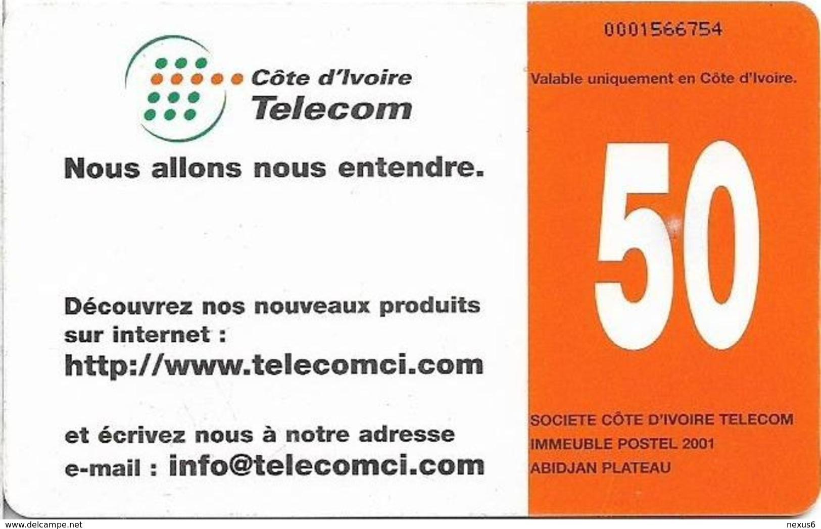 Ivory Coast - CI-Telcom - Telephone Box, Gem1B Not Symmetric White/Gold, 50Units, Used - Côte D'Ivoire