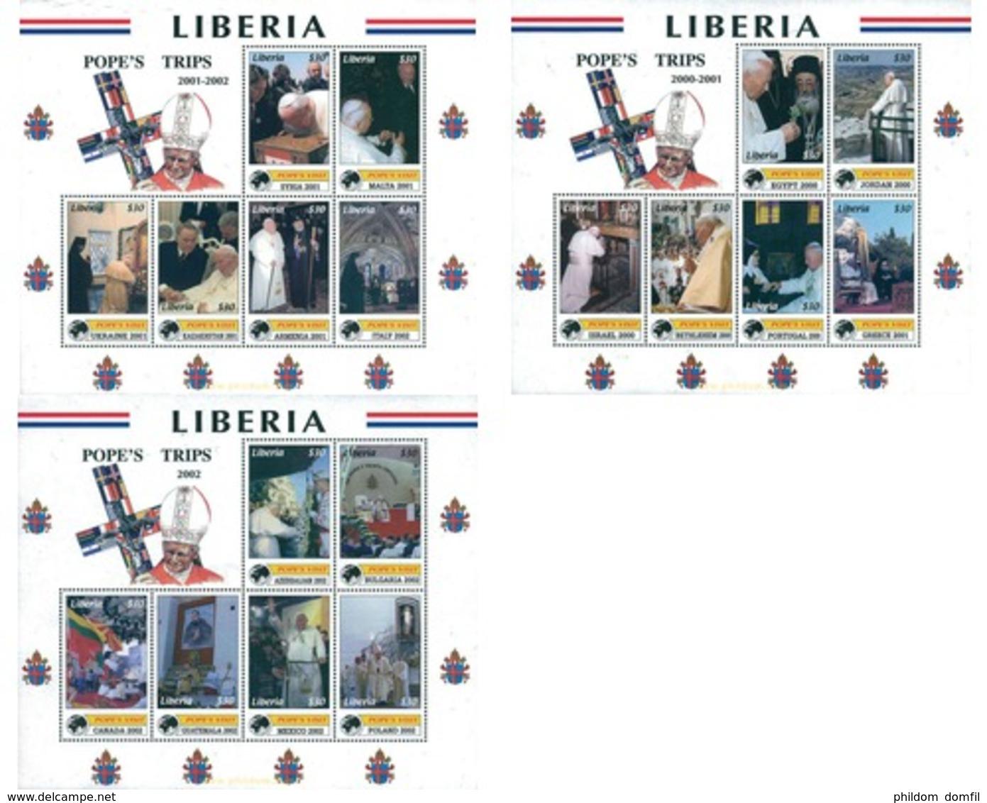Ref. 314802 * MNH * - LIBERIA. 2003. POPE'S JOURNEYS . LOS VIAJES DEL PAPA - Liberia