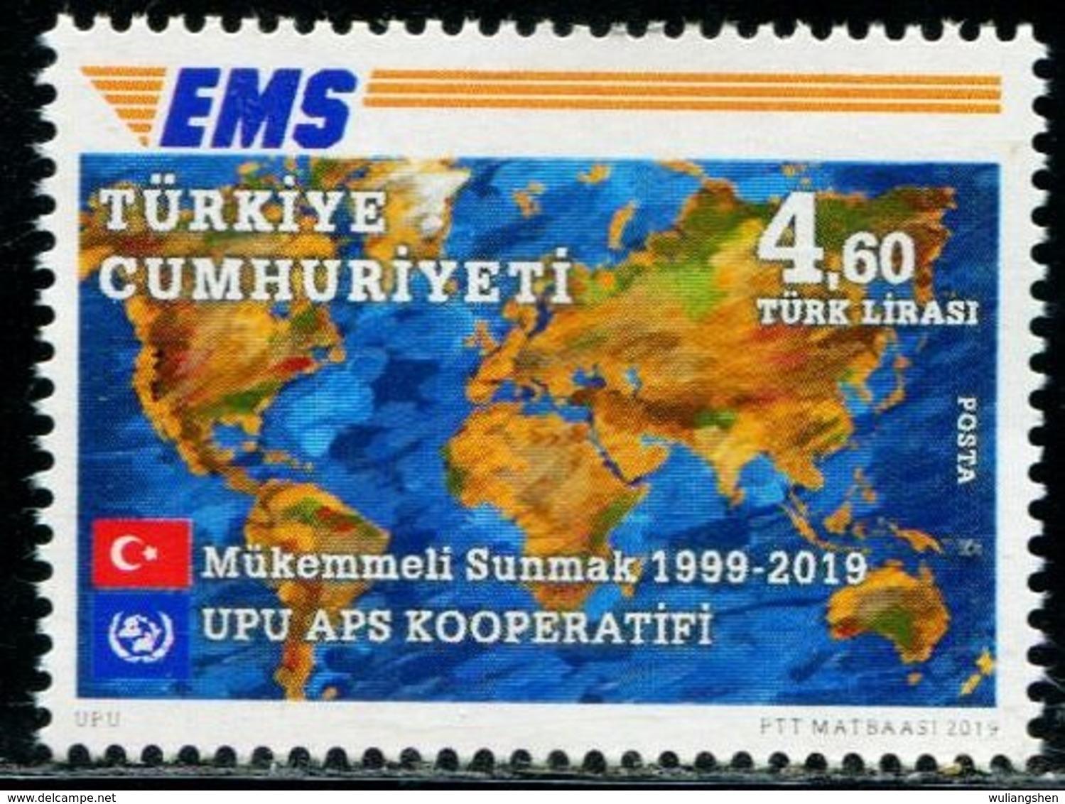 XC0848 Turkey 2019 Global Lianfa EMS20 Year Flag Map 1V MNH - Nuevos