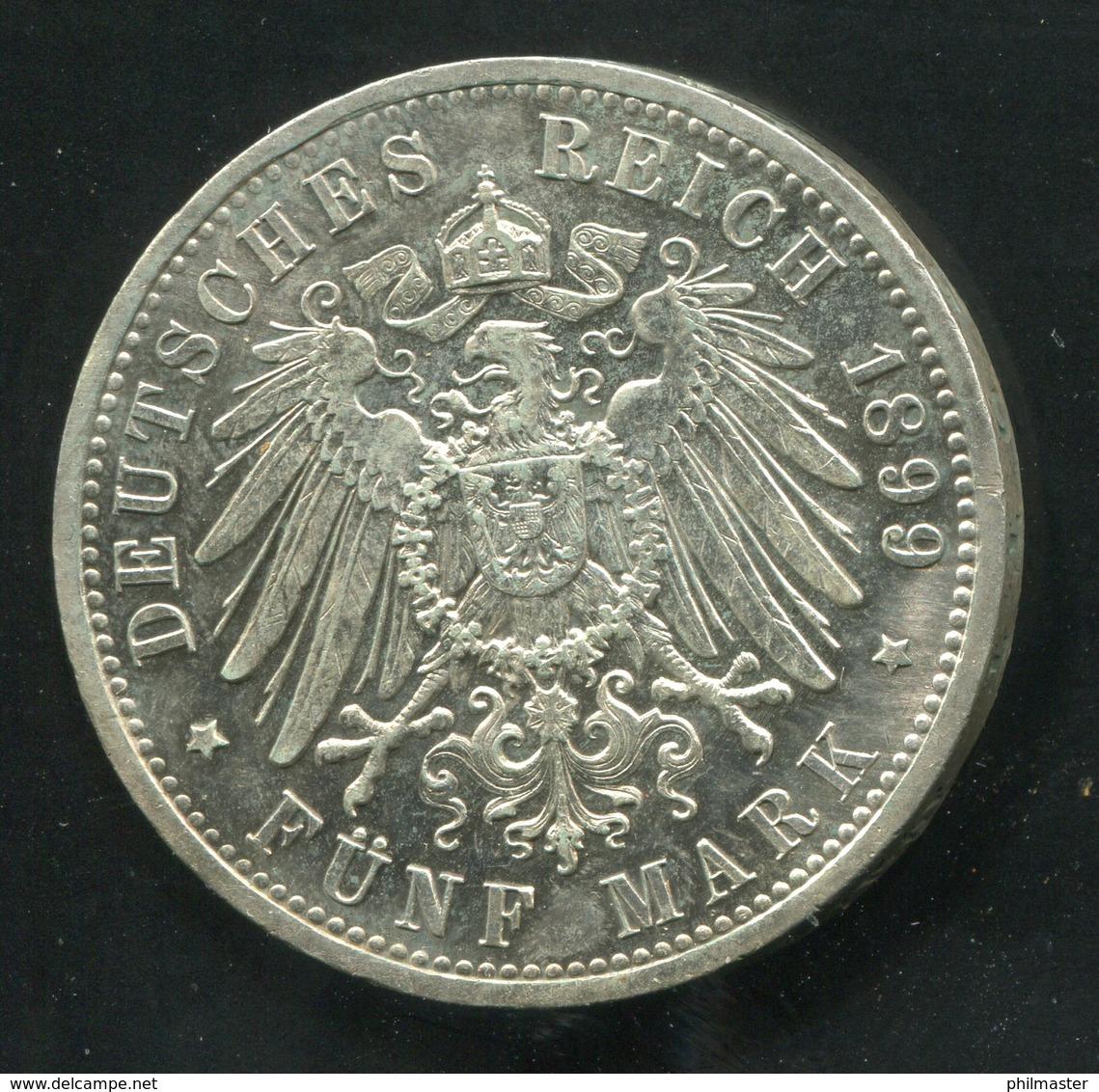 Hessen Großherzog Ernst Ludwig, 5 Mark Von 1899, Silber 900, Schön - [ 1] …-1871 : German States
