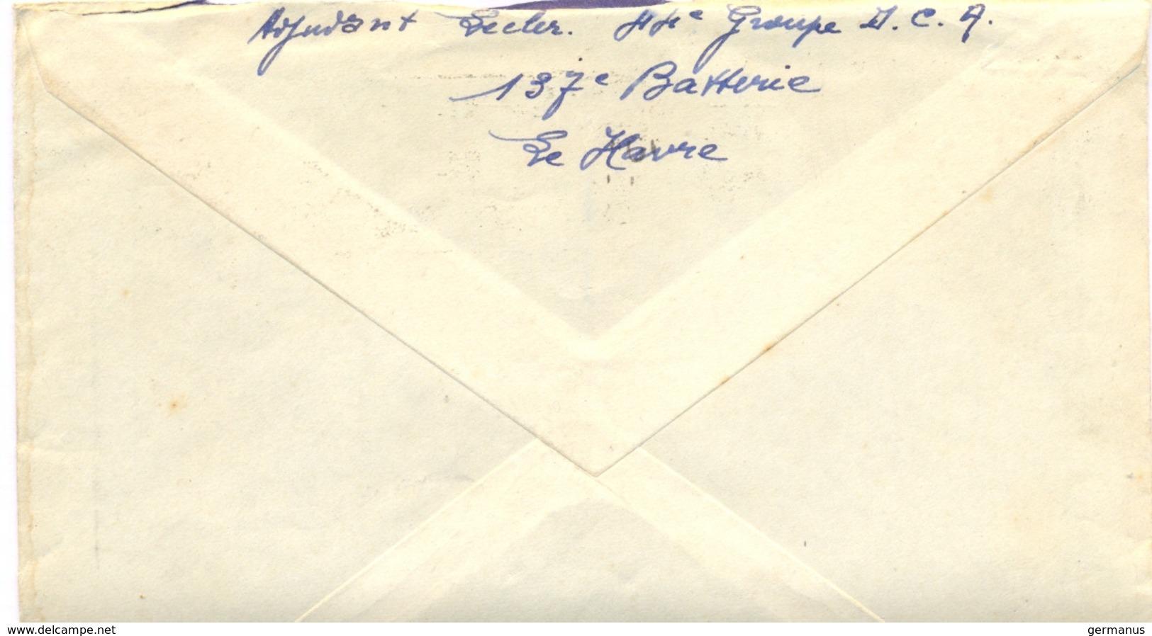 GUERRE 39-45 BATTERIE DE 75 De D.T.A. (Défense Aérienne Du Territoire) 44e Groupe  D.C.A. 137e Batterie LE HAVRE 2-11-39 - Marcophilie (Lettres)