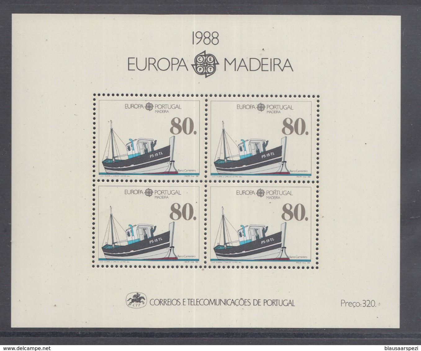 A 11 ) Free Shipping To  // Portugal - Madeira 1988 Europa CEPT Transportmittel Schiffe Ships - Europa-CEPT