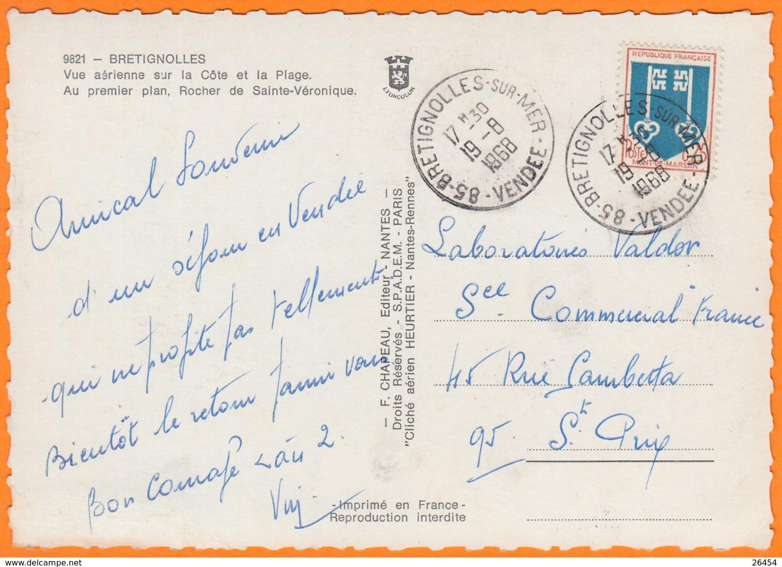 85 BRETIGNOLLES   CPSM  Vue  Aérienne Sur La Cote Et La Plage    Num 9821  Le 19 8 1968 - Bretignolles Sur Mer