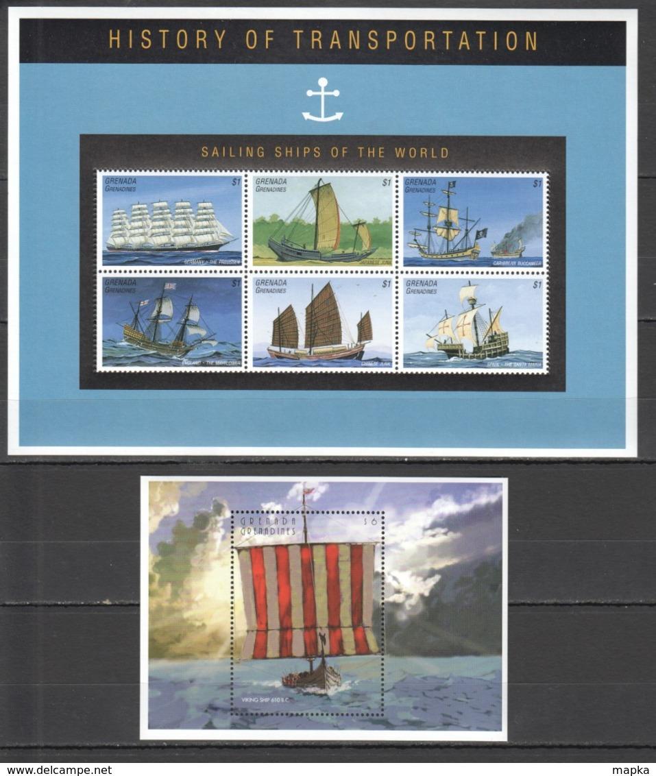 B827 GRENADA GRENADINES TRANSPORT SAILING SHIPS OF THE WORLD HISTORY 1KB+1BL MNH - Barcos