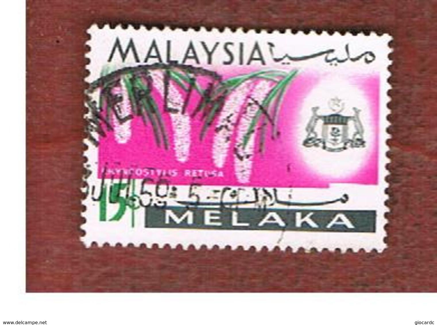 MALESIA: MALACCA (MALAYSIA) -  SG 66 -  1965   RHYNCHOSTYLIS RETUSA        - USED ° - Malesia (1964-...)