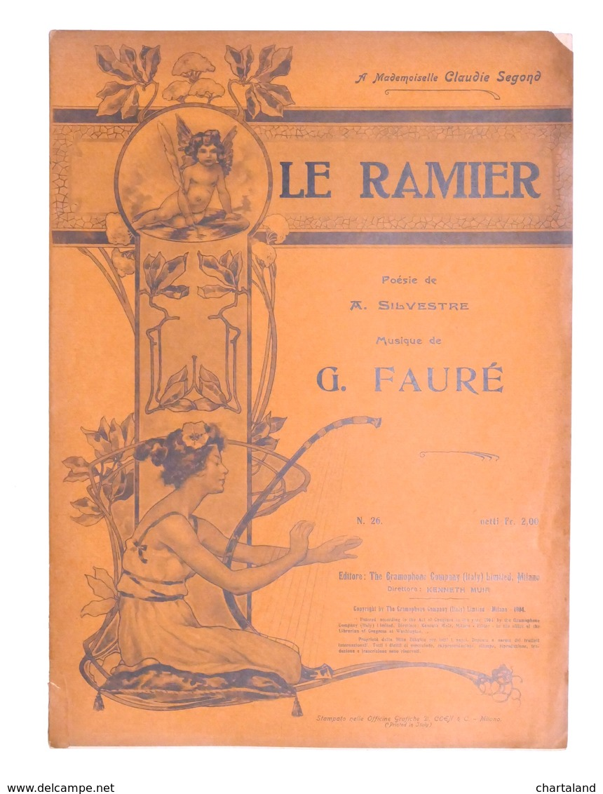 Spartito - G. Faurè - Le Ramier - The Gramophone Company N. 25 - Ed. 1904 - Non Classés