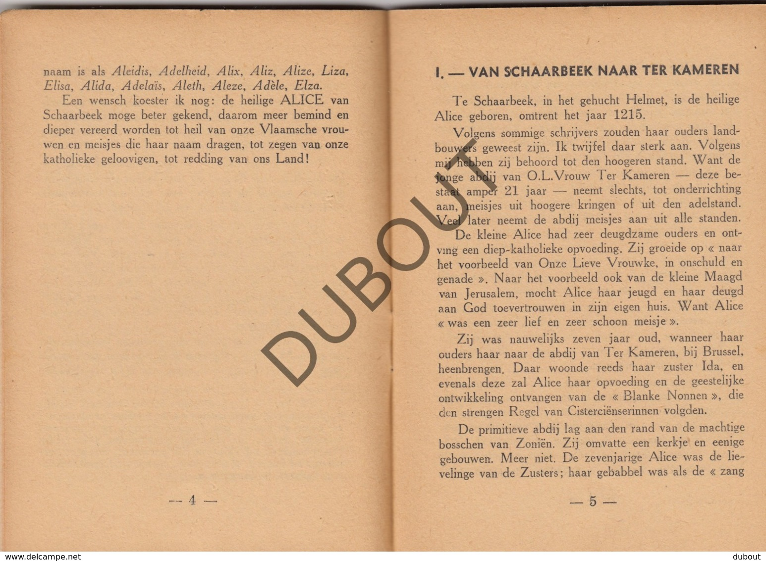 SCHAARBEEK - De Heilige Alice Deel 1 + Deel 2 - De Meyer, 1946  (R281) - Oud
