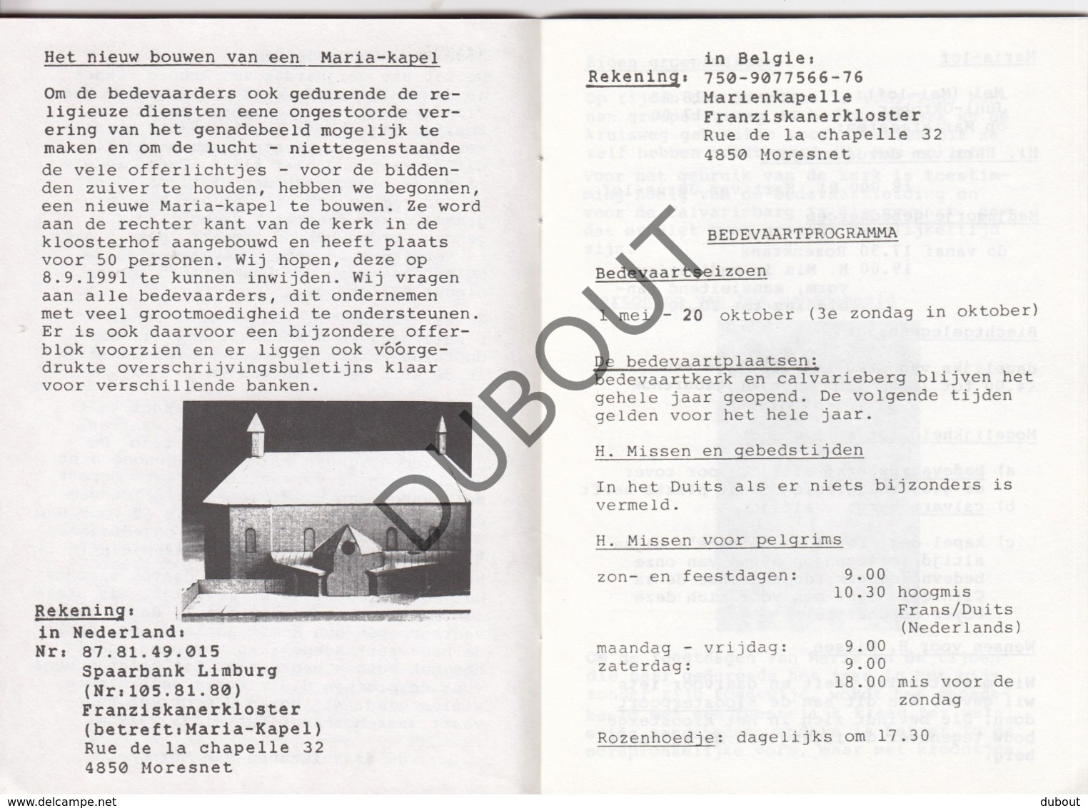 MORESNET/Blieberg/Luik 1991 Bedevaartprogramma Fransciscanen  (R278) - Oud