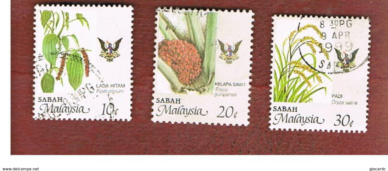MALESIA: SABAH (MALAYSIA) -  SG 462.465  -  1986  AGRICULTURAL PRODUCTS  - USED ° - Malesia (1964-...)