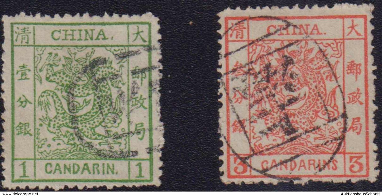 1875/85, Prachtlot 5 Grosse Drachen (2 X 1 Candarin, 1 X 3 Candarins Und 2 X 5 Candarins) Und 6 Kleine Drachen (1 X 1 Ca - China