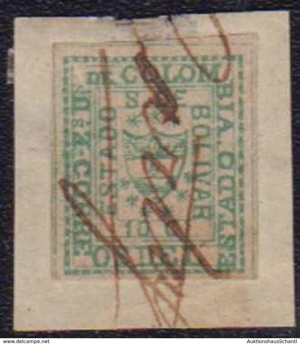 """1863, 10 C. Grün, Vollrandig Auf Kleinem Briefstück, Handschriftlich Entwertet CARTAGENA"""", Selten"""" - Colombia"""
