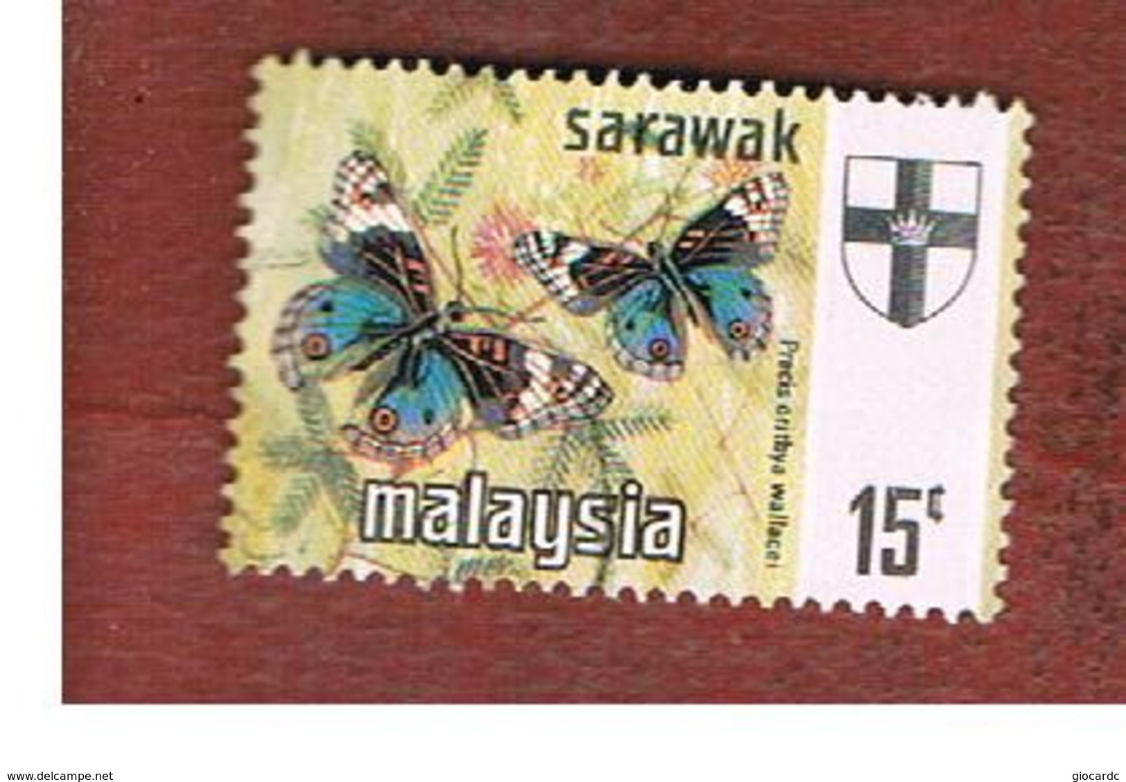 MALESIA: SARAWAK (MALAYSIA) -  SG 224   -  1971  BUTTERFLIES: PRECIS ORITHYA   - USED ° - Malaysia (1964-...)