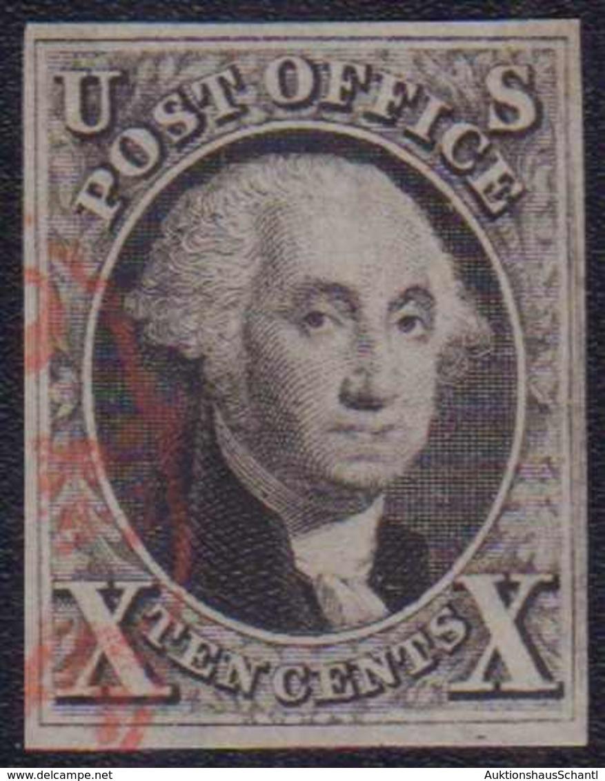1847, 10 C. George Washington, Vollrandig Farbfrisch Mit Roter Abstempelung - Unclassified