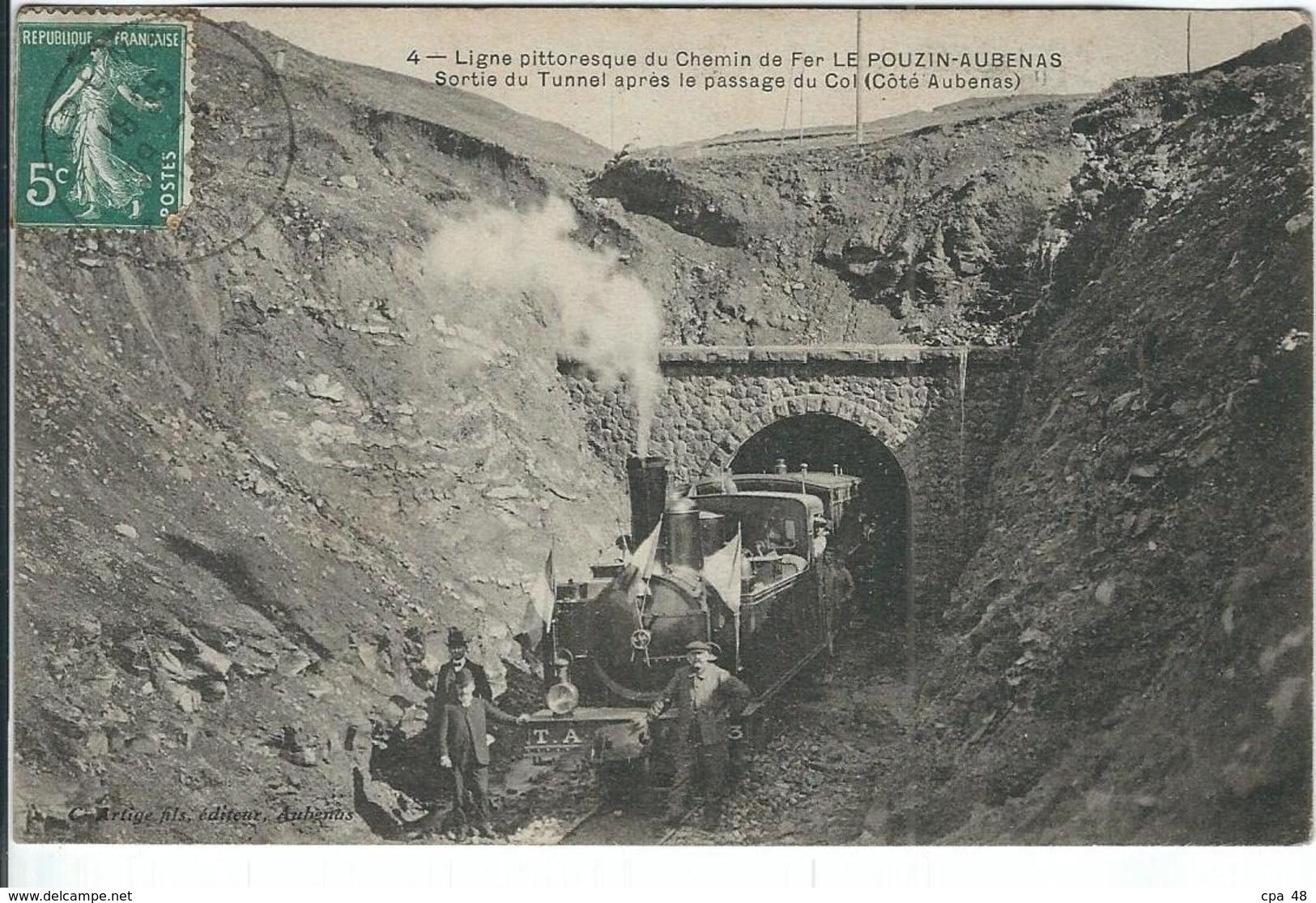Ardèche : Le Pouzin-Aubenas, Ligne Du Chemin De Fer, Sortie Du Tunnel... - Le Pouzin