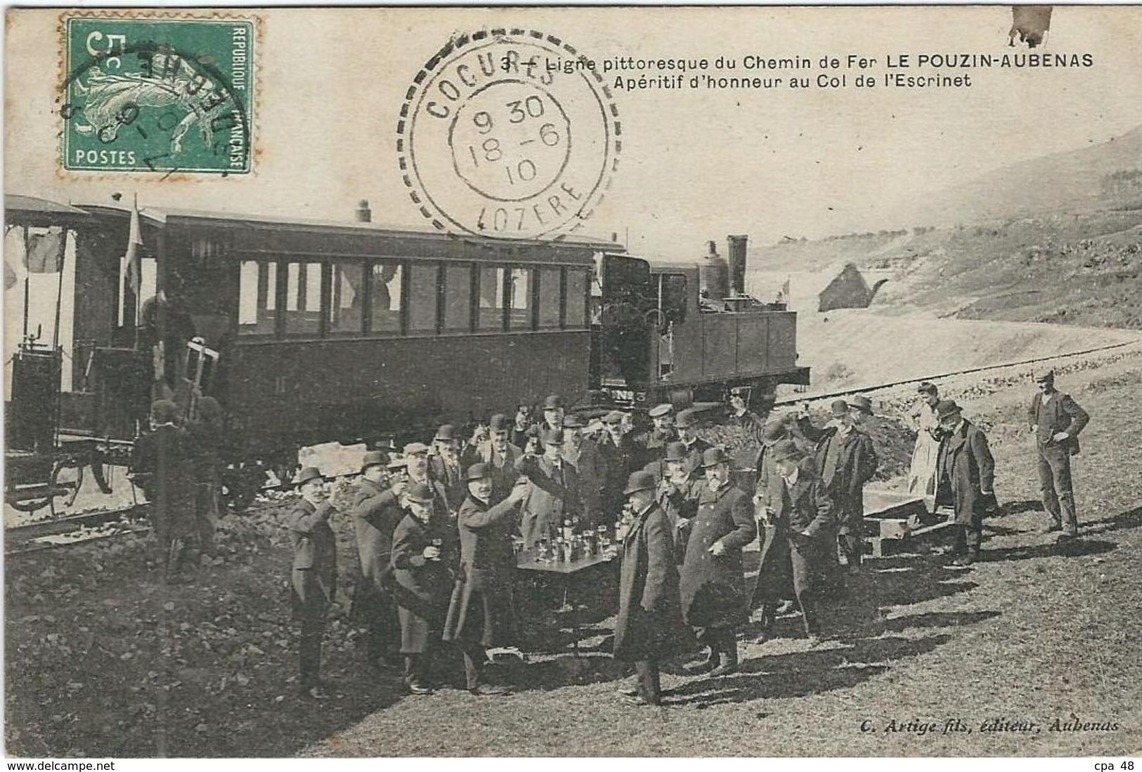 Ardèche : Le Pouzin-Aubenas, Ligne Du Chemin De Fer, Apéritif D'Honneur Au Col De L'Escrinet... - Le Pouzin