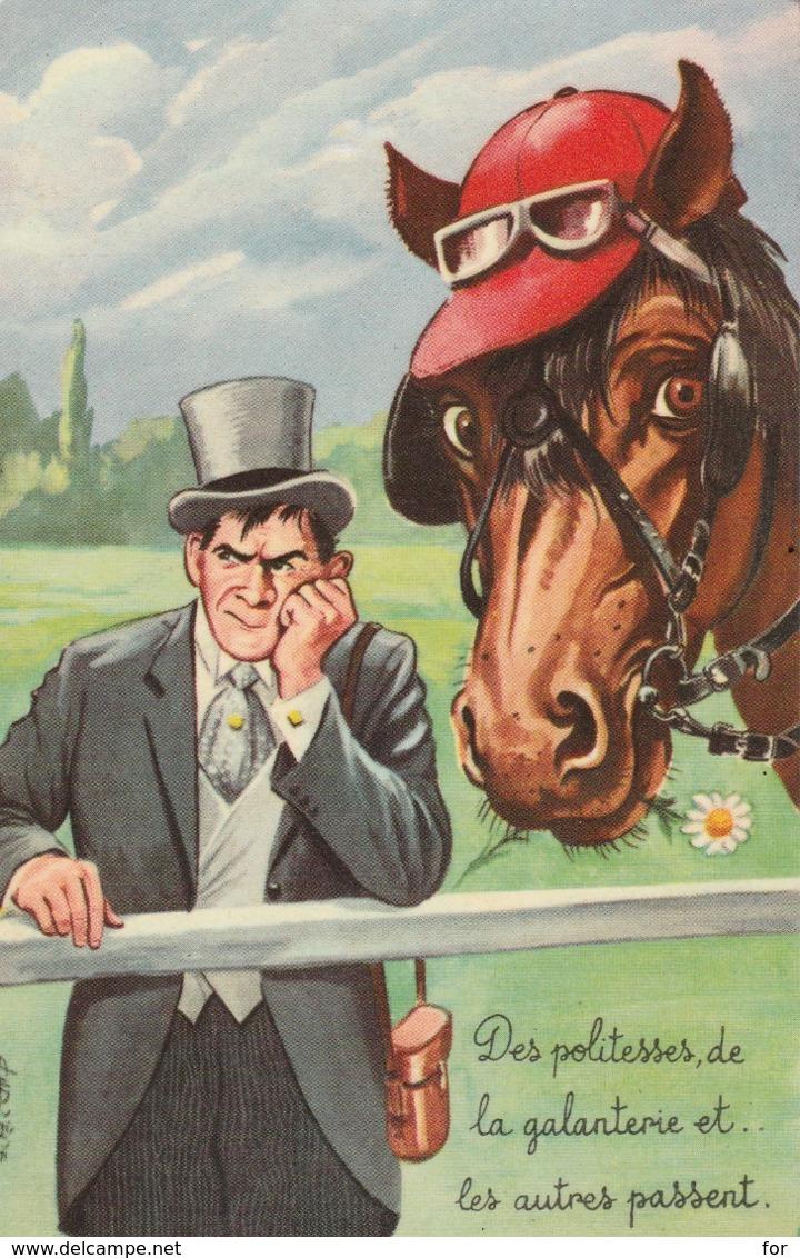 Lllustrateur : CARRIERE : Humour : Cheval Et Turfiste - Carrière, Louis