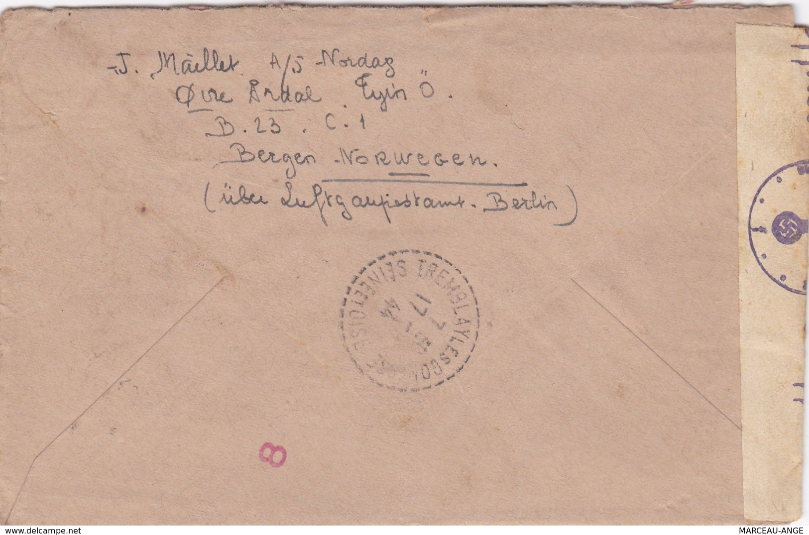 LETTRE PERIODE DE GUERRE , 1939/1945 ,avec Censure Militaire ,destination FRANCE Avec Contenu - Norvège
