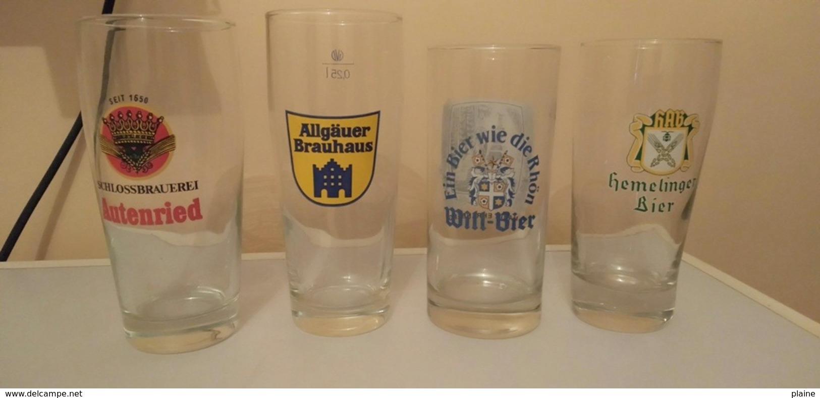 VERRES-BIERE-HEMELINGER-WILL-BIER-AUTENRIED-BRAUHAUS ALGAUER - Gläser