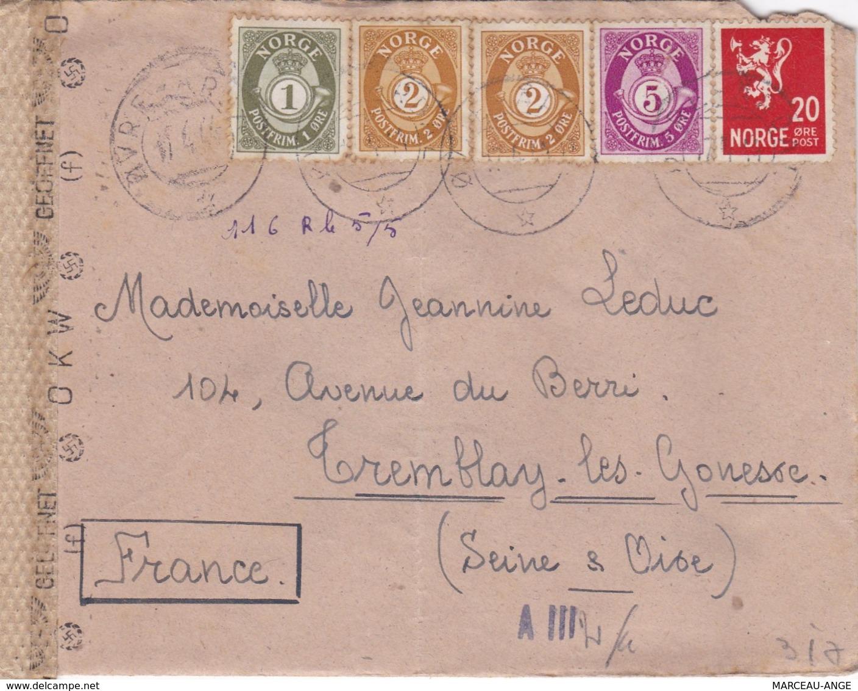 LETTRE PERIODE DE GUERRE , 1939/1945 ,avec Censure Militaire ,destination FRANCE Avec Contenu - Lettres & Documents
