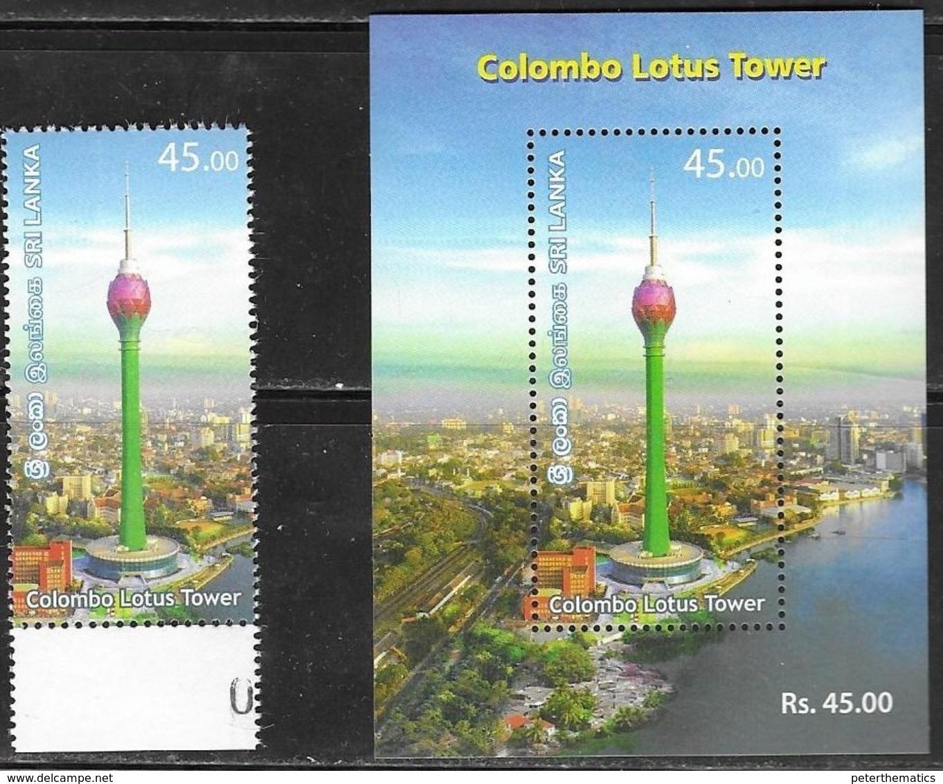 SRI LANKA, 2019, MNH,  TOWERS, COLOMBO LOTUS TOWER, CITY PANORAMIC VIEW, 1v+ S/SHEET - Architectuur