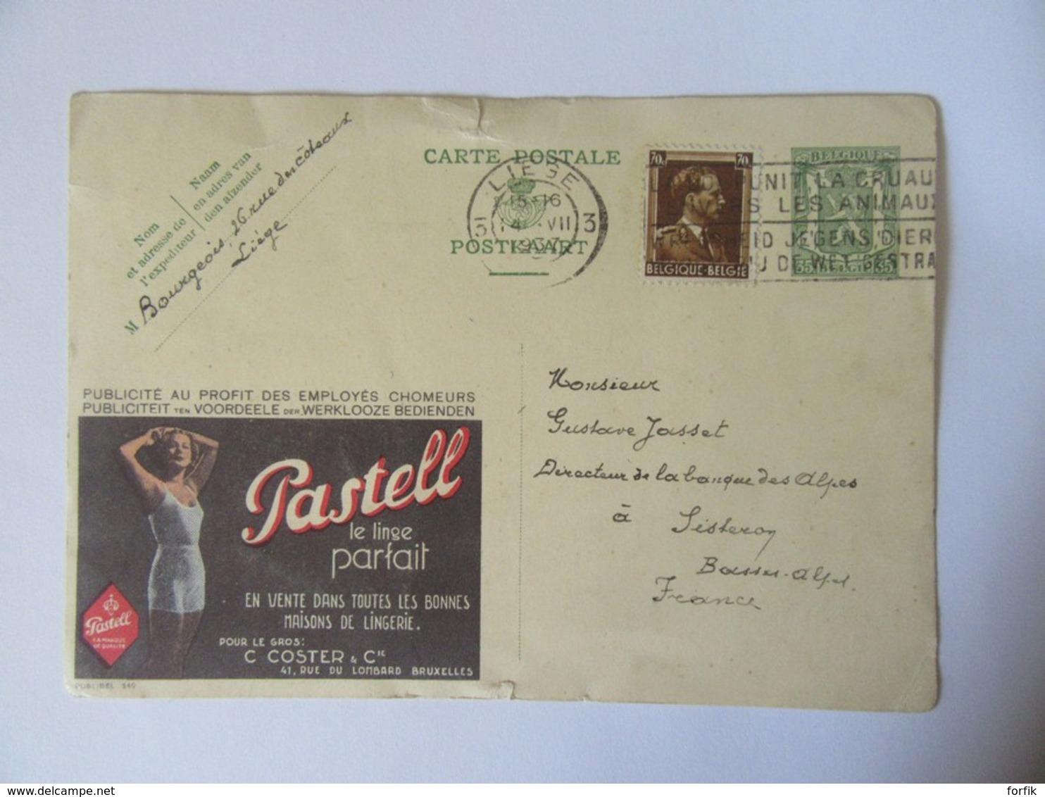 """Belgique - Entier Postal Publibel 35c + Timbre 70c Publicité """"Pastell"""" - Circulé En Juillet 1937 - Liège Vers Sisteron - Enteros Postales"""