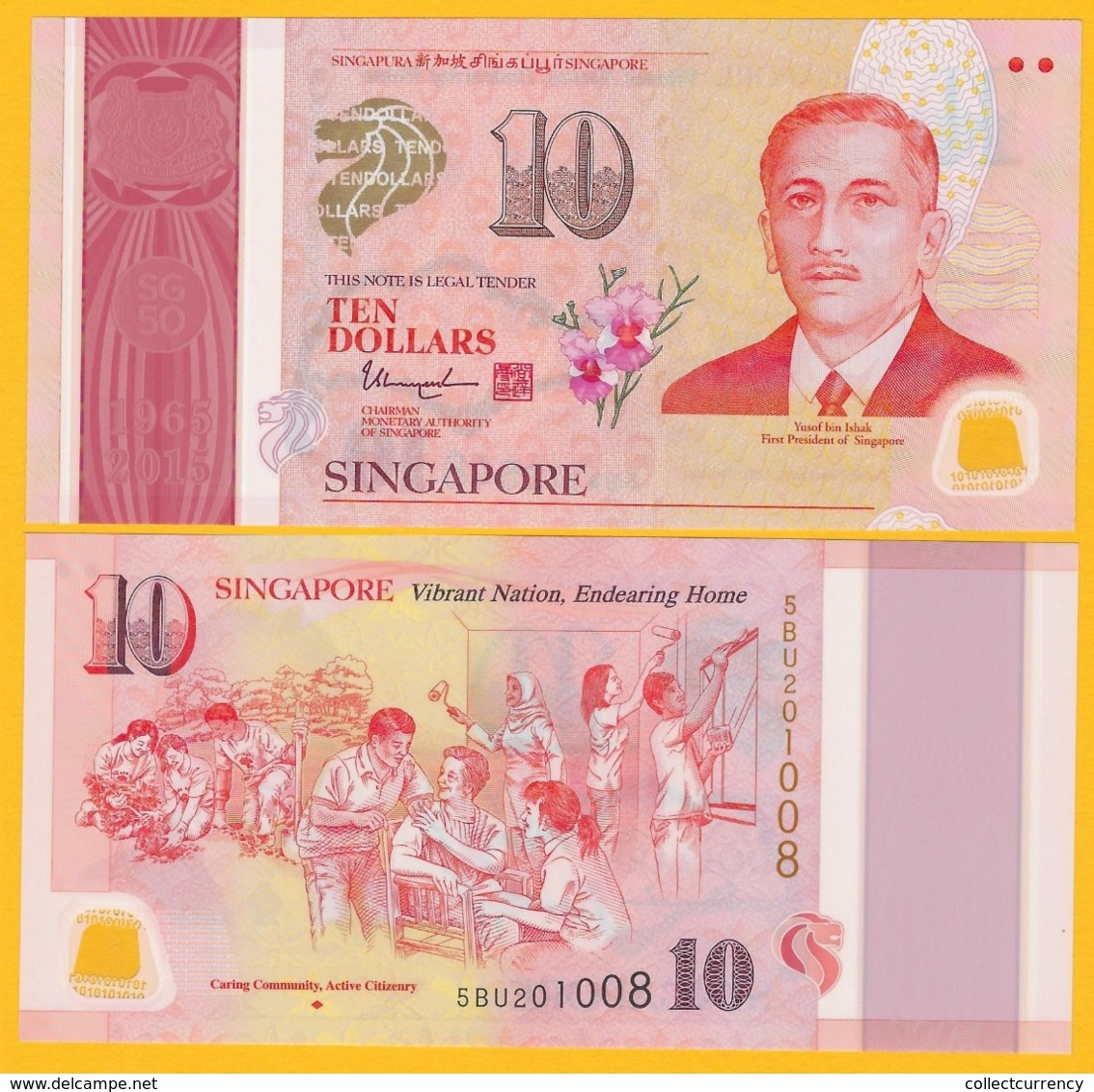 Singapore 10 Dollars P-60 2015 Commemorative UNC Polymer Banknote - Singapore