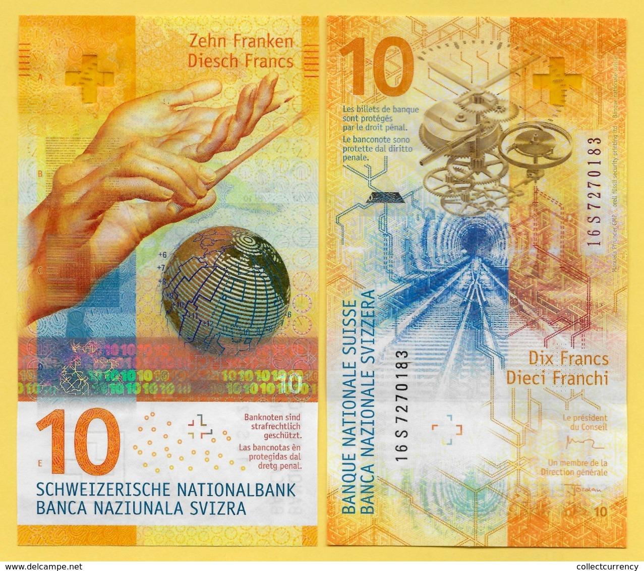 Switzerland 10 Franken P-75 2016(2017) Sign. Studer & Jordan UNC Banknote - Suiza