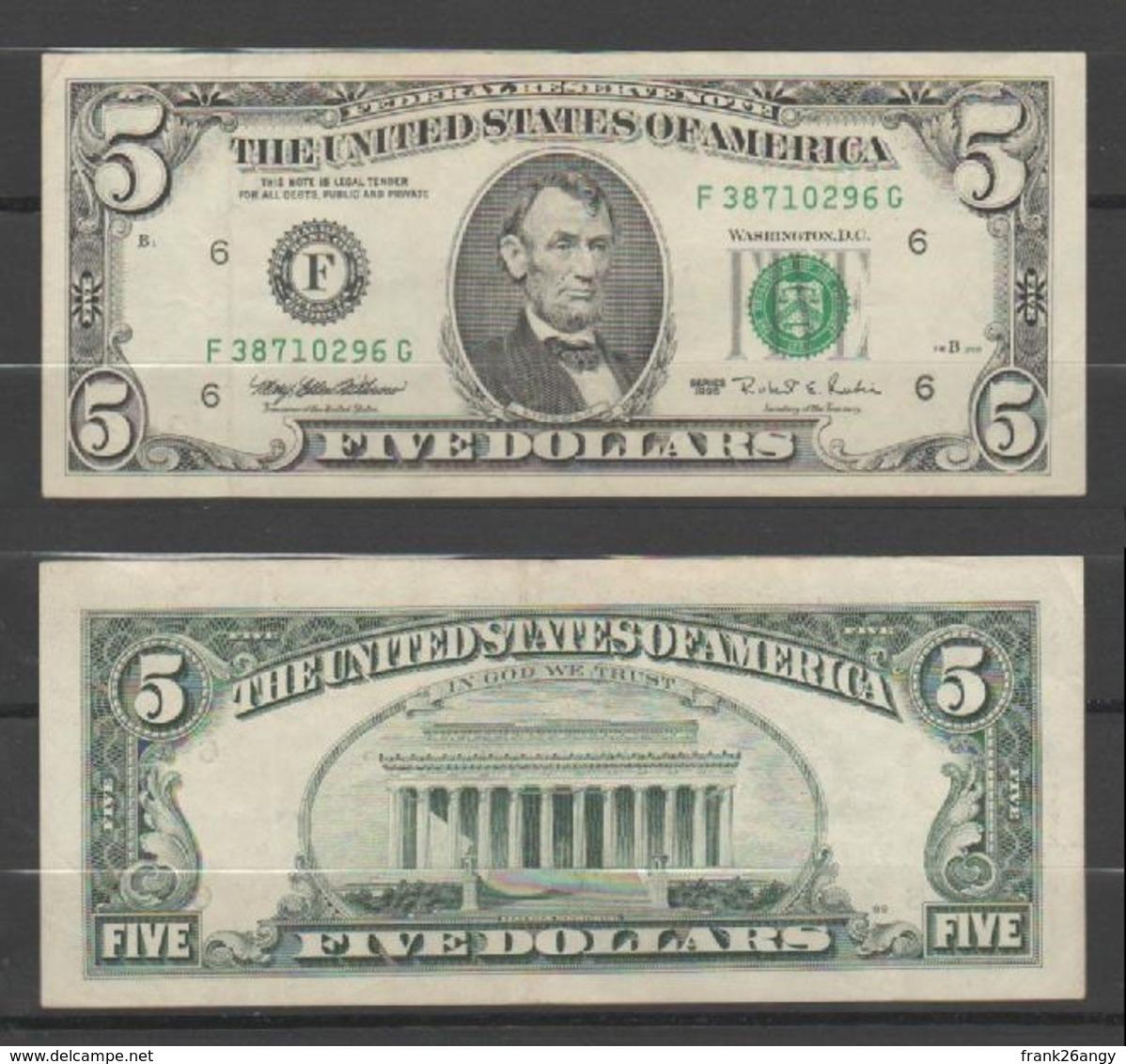 """STATI UNITI 1995 - 5 Dollari - """"Lincoln""""  Banconota In Condizioni BB/spl - Federal Reserve Notes (1928-...)"""
