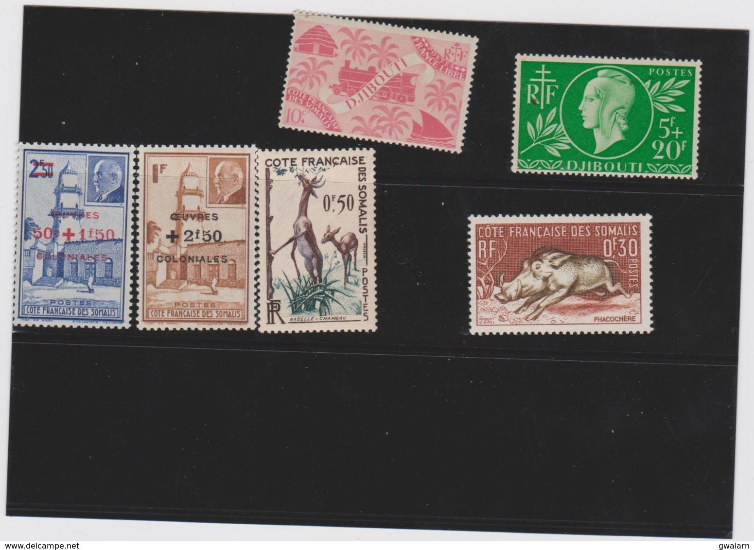 COLONIES FRANCAISES COTE DES SOMALIS (Djibouti) 6 Timbres Neufs Xx 235 251 252 253 287 289 - Costa Francesa De Somalia (1894-1967)