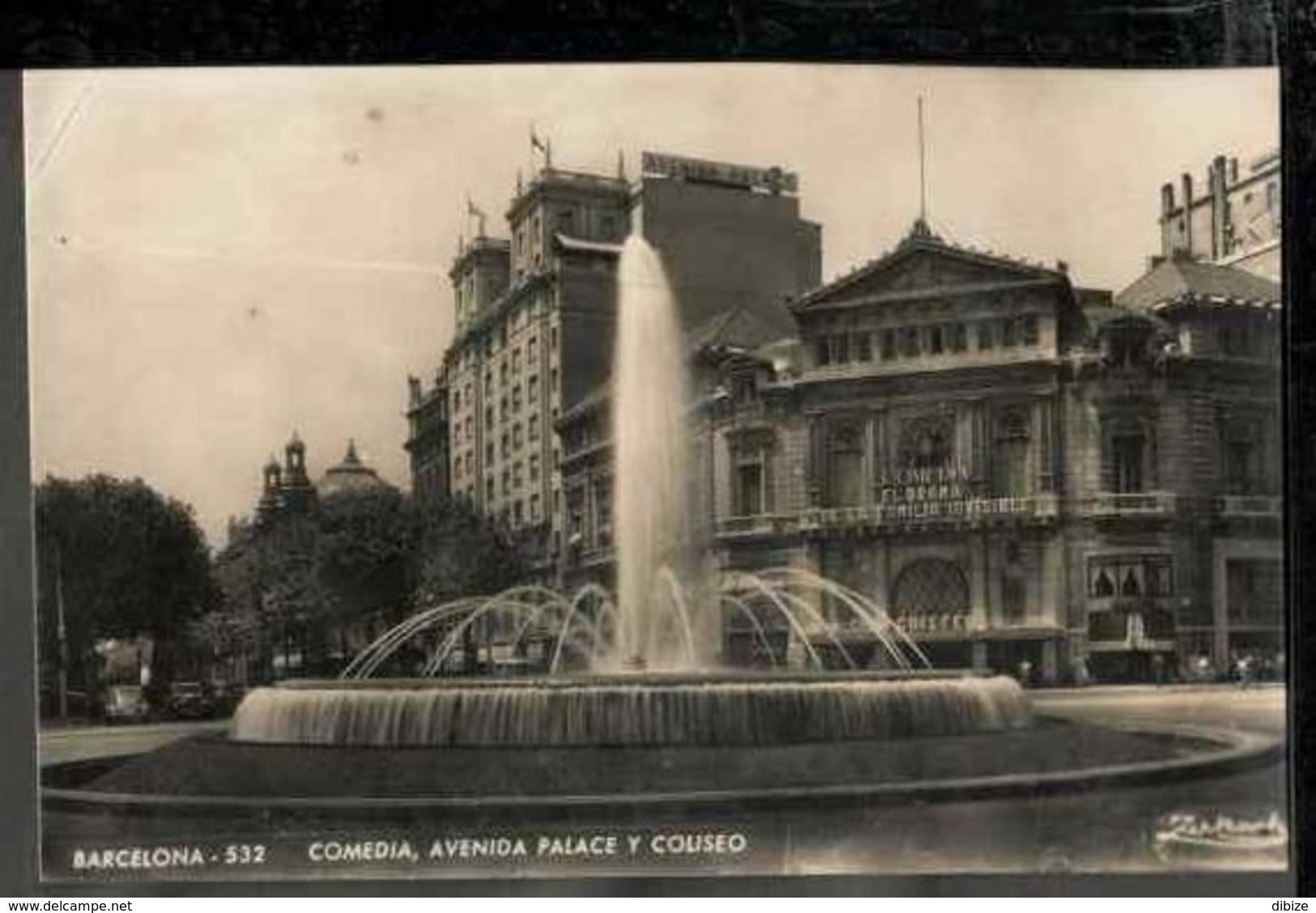 Tarjeta Postal.  España. Barcelona. Comedia. Avenida. Palacio. Coliseo. Estado Medio. - Monuments