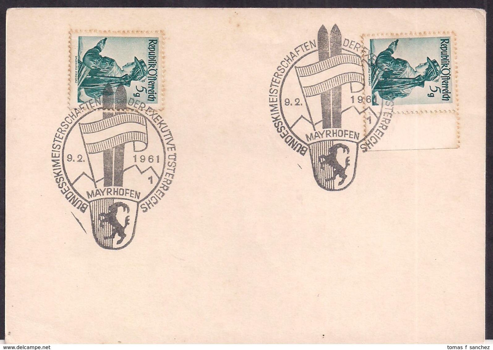 Österreich - 1961 - Sonderstempel - Bundesskimeisterschaften Der Exekutive Österreichs - 1961-70 Briefe U. Dokumente