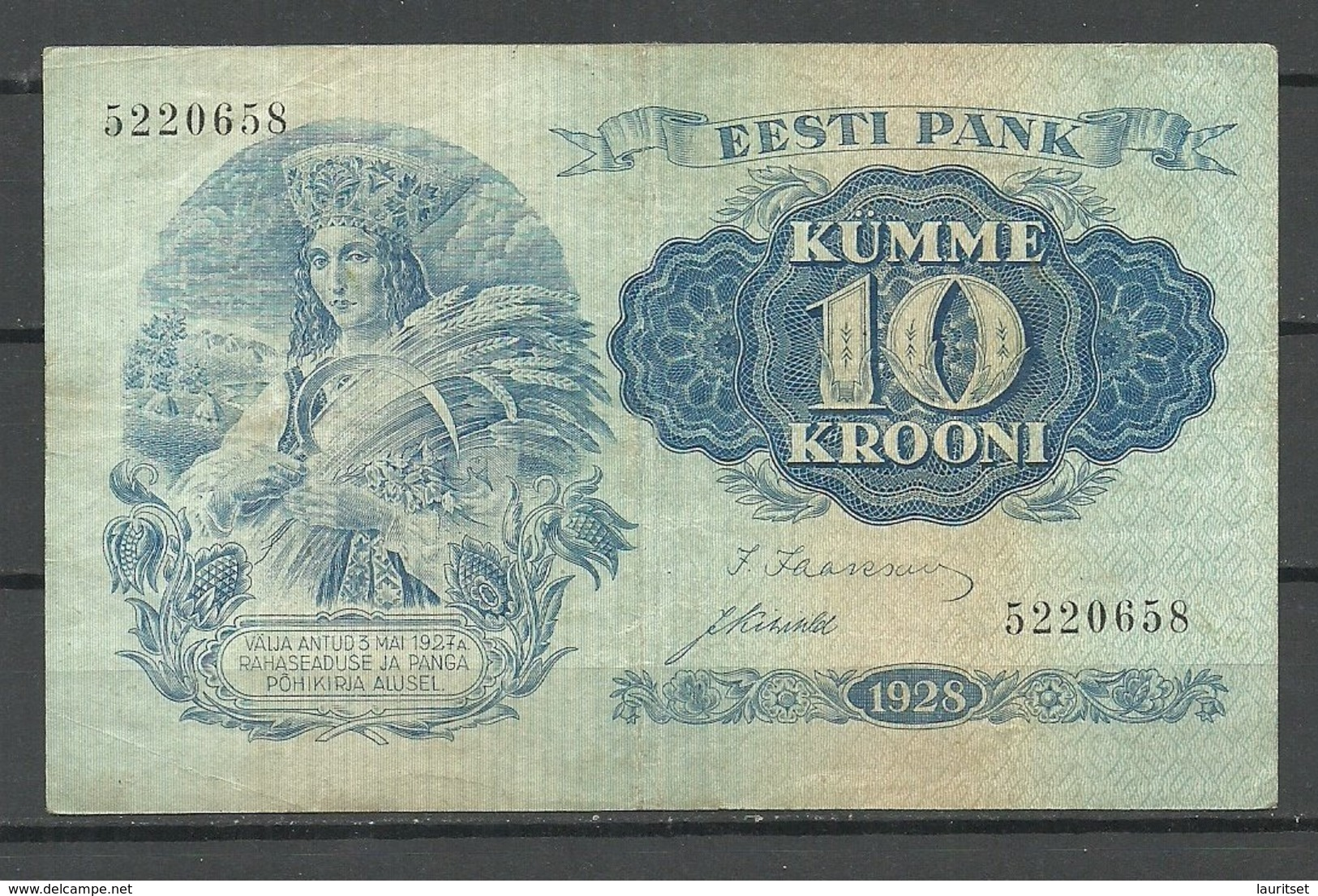 Estland Estonia Estonie 10 Krooni Bank Note Banknote 1928 - Estonia